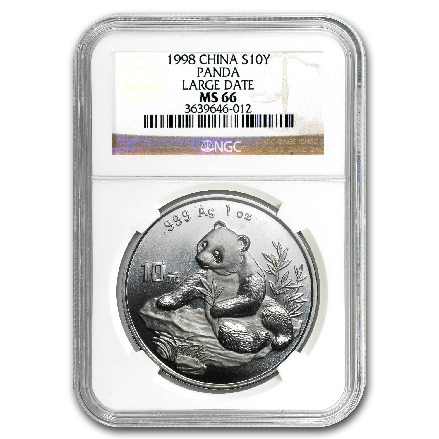 1998 China 1 oz Silver Panda MS-66 NGC (Large Date)