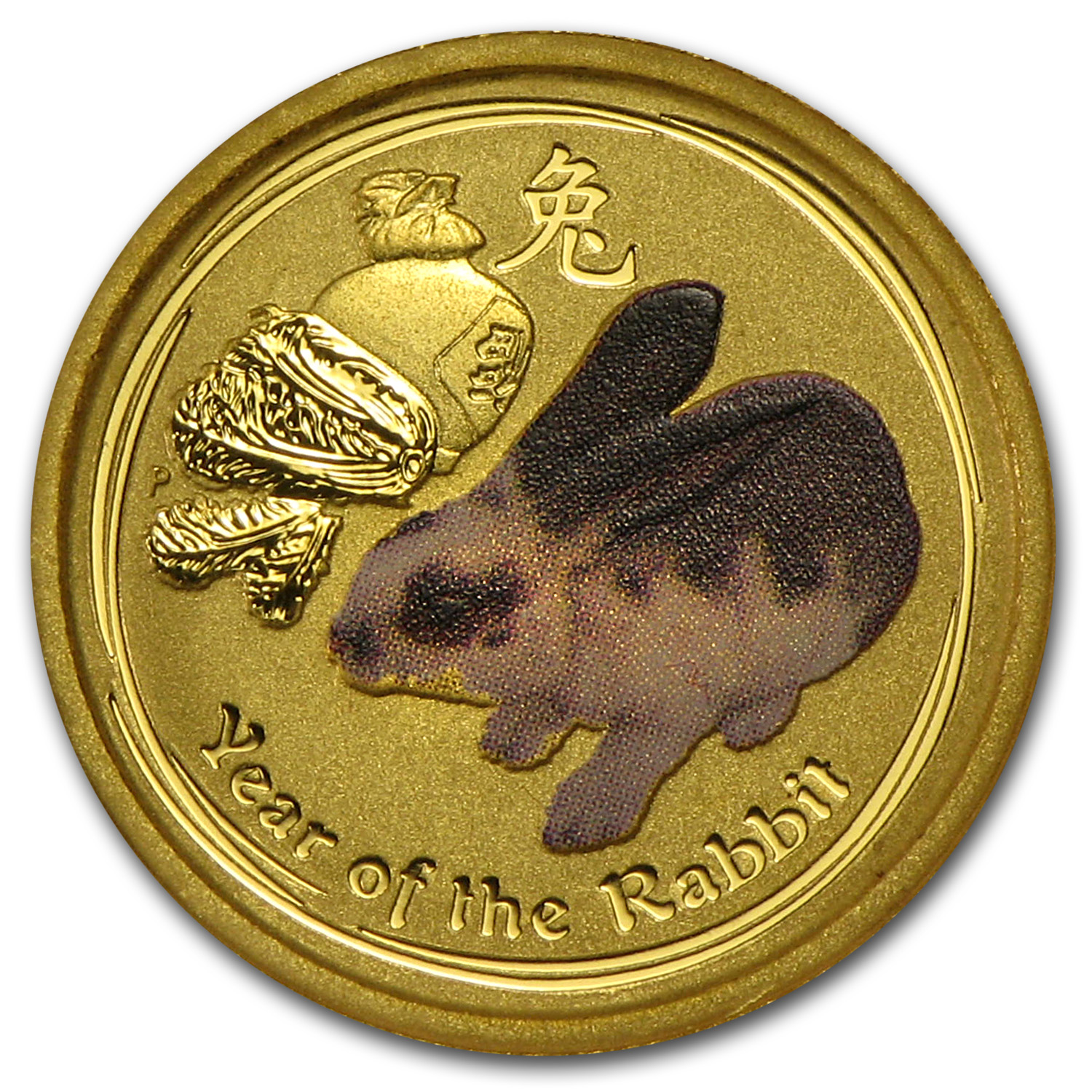 2011 Australia 1/20 oz Gold Lunar Rabbit BU (SII, Colorized)