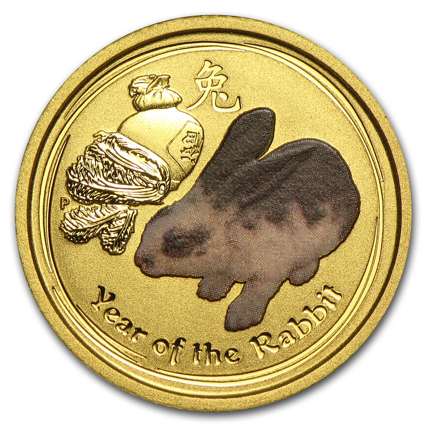 2011 1/10 oz Gold Lunar Year of the Rabbit BU (SII, Colorized)