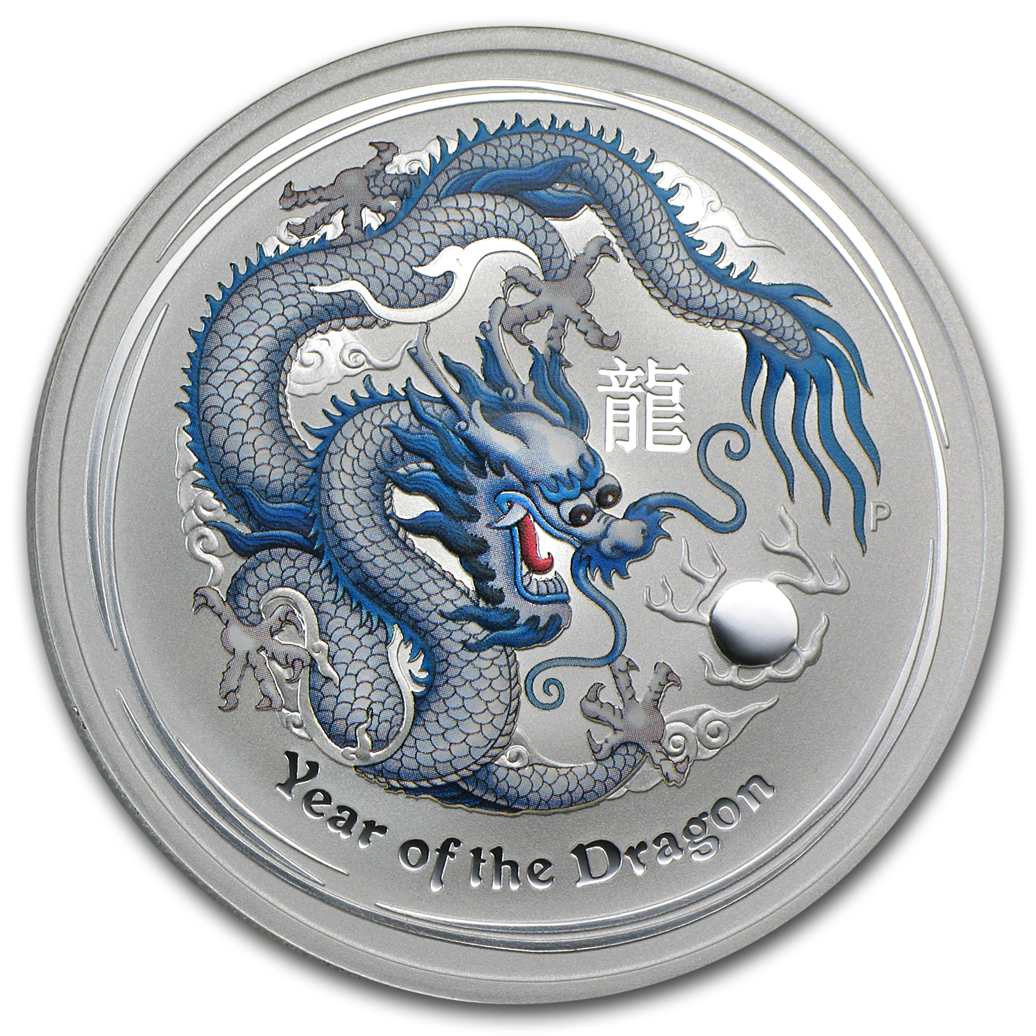 2012 Australia 1 oz Silver Dragon BU (White Colorized)