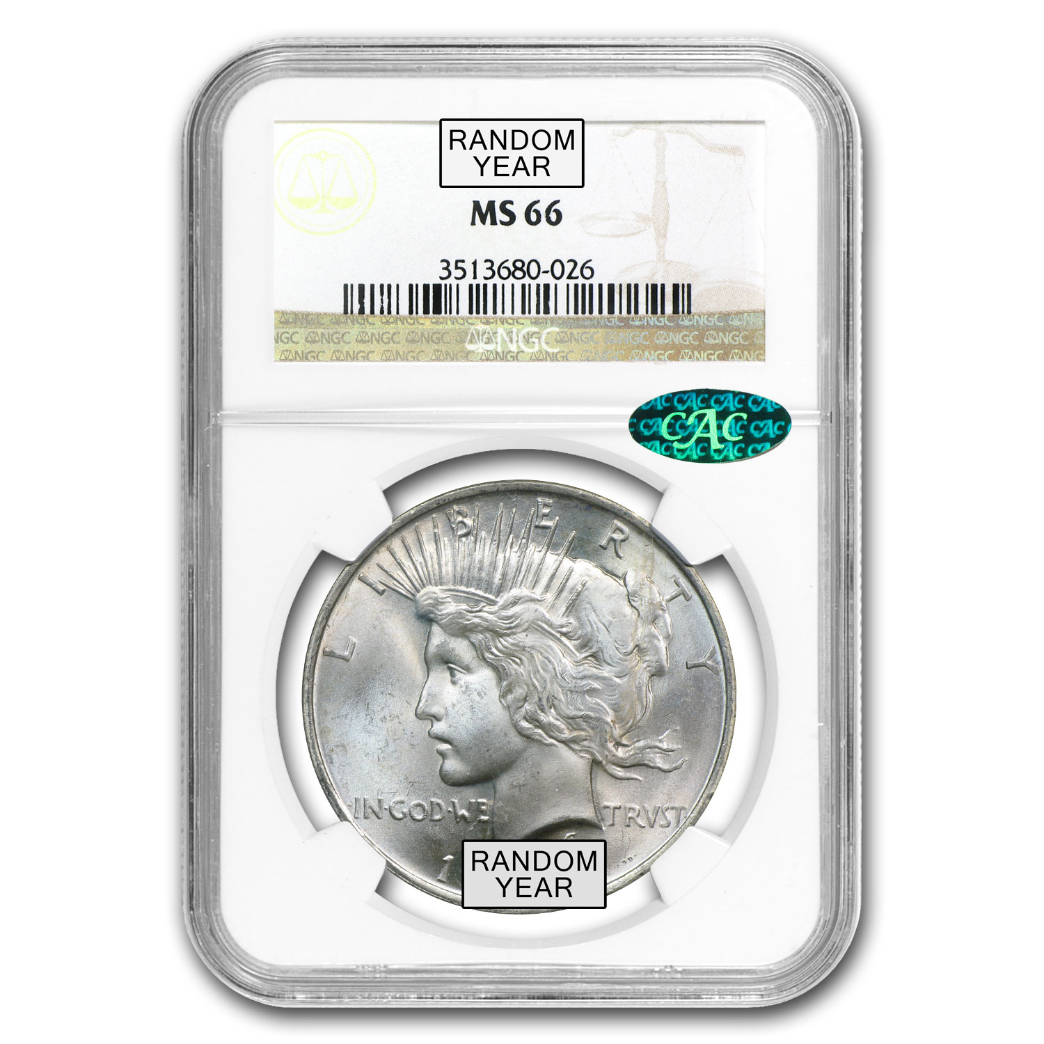 1922-1925 Peace Dollars MS-66 NGC (CAC)
