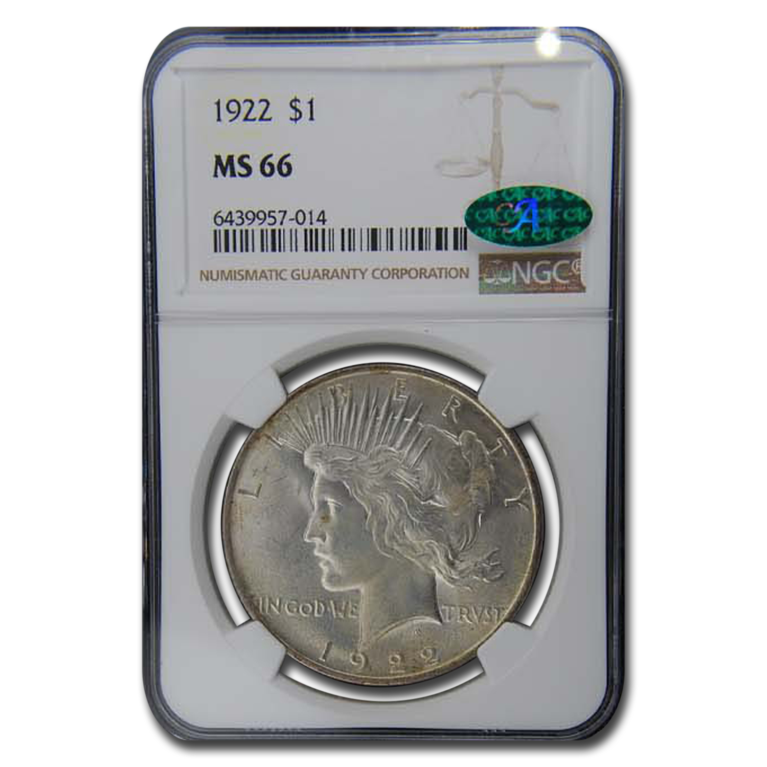 1922 Peace Dollar MS-66 NGC (CAC)