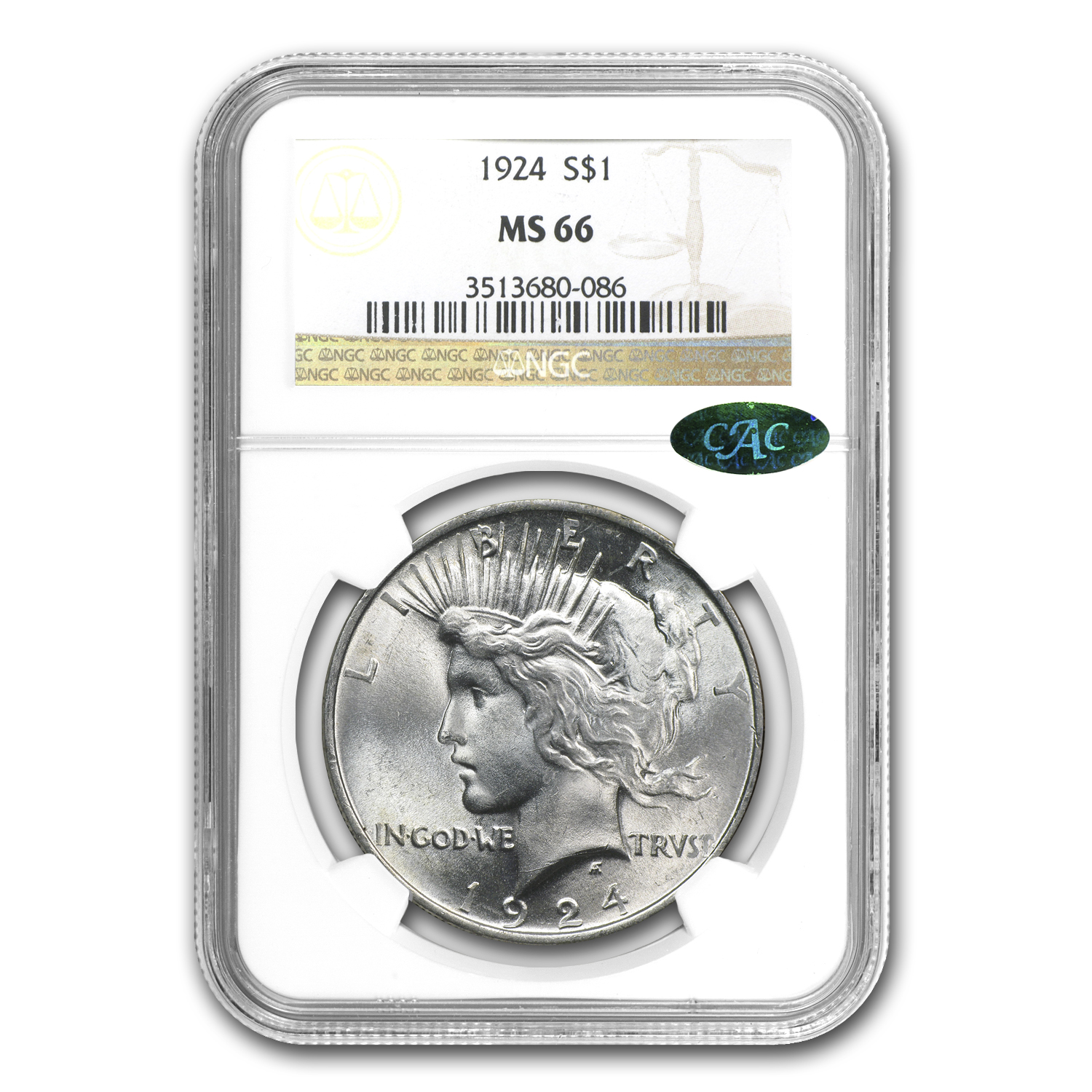1924 Peace Dollar MS-66 NGC (CAC)