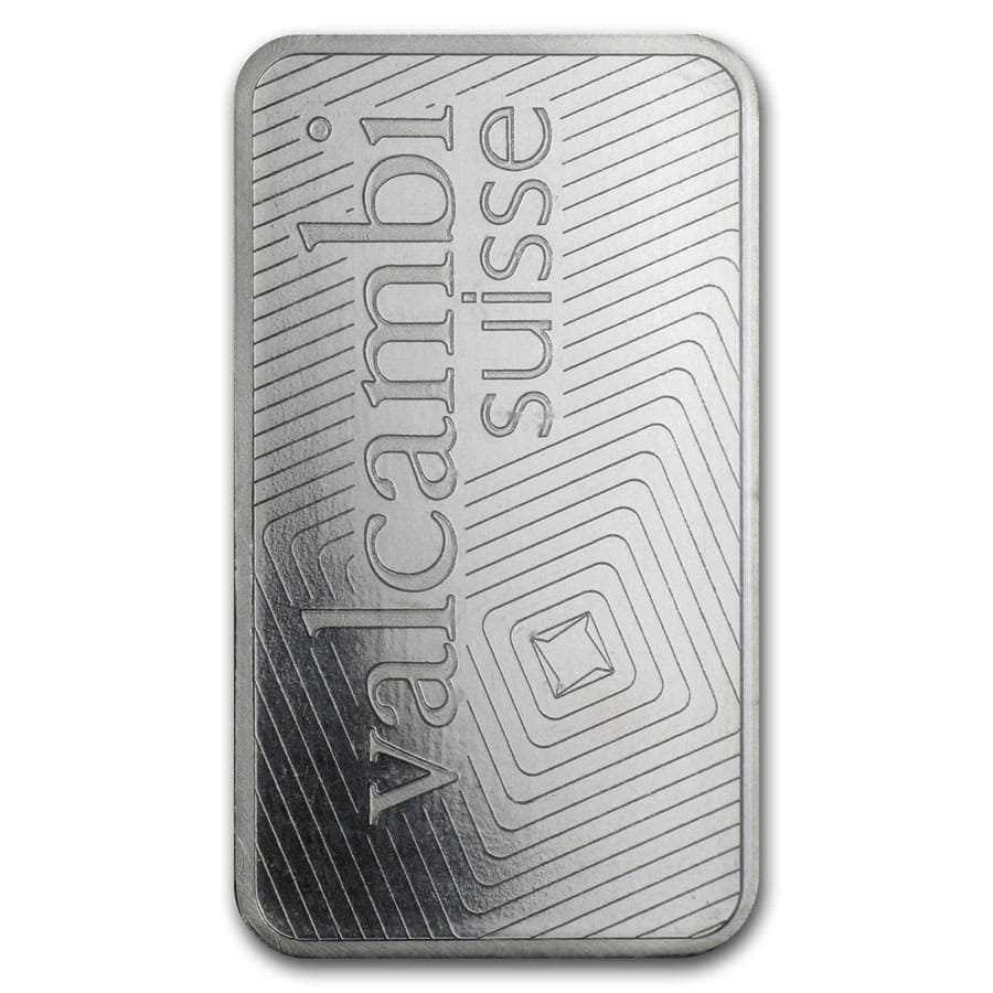 1 oz Valcambi Suisse Platinum Bar (In Assay)