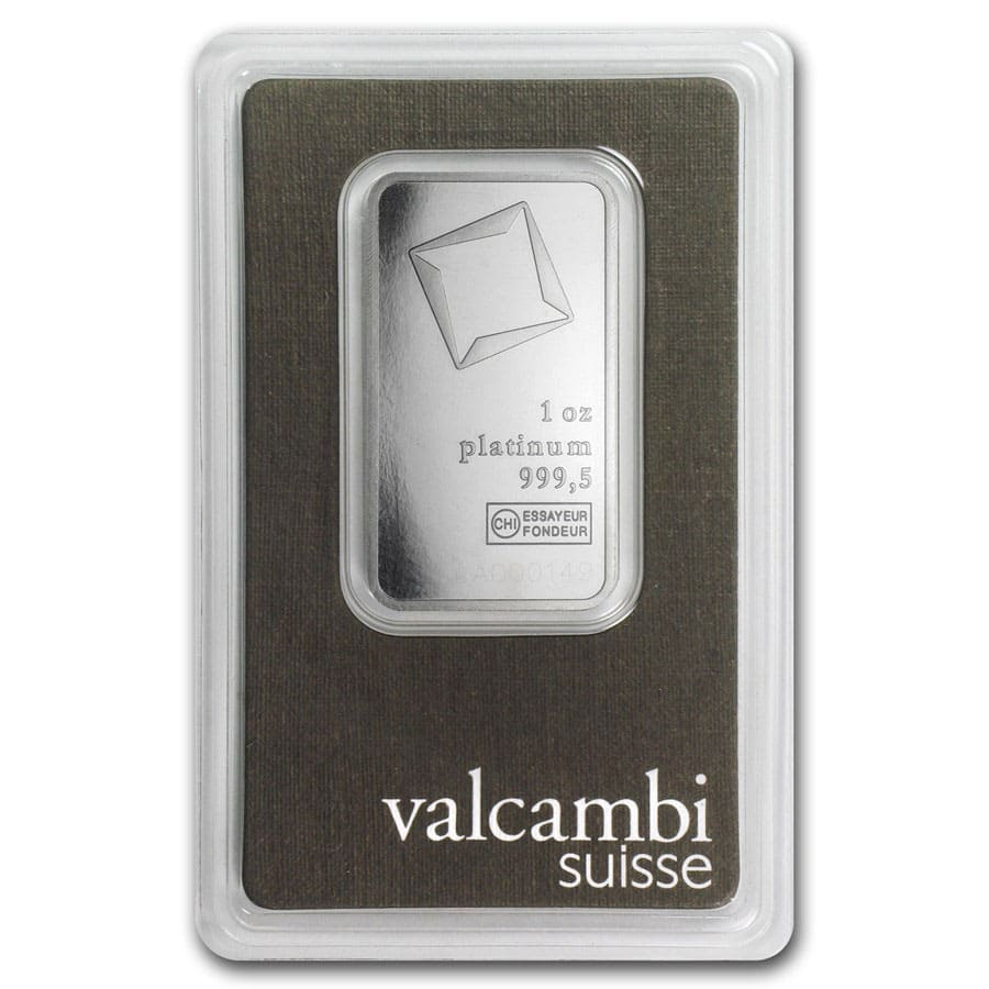 1 oz Platinum Bar Valcambi (In Assay)