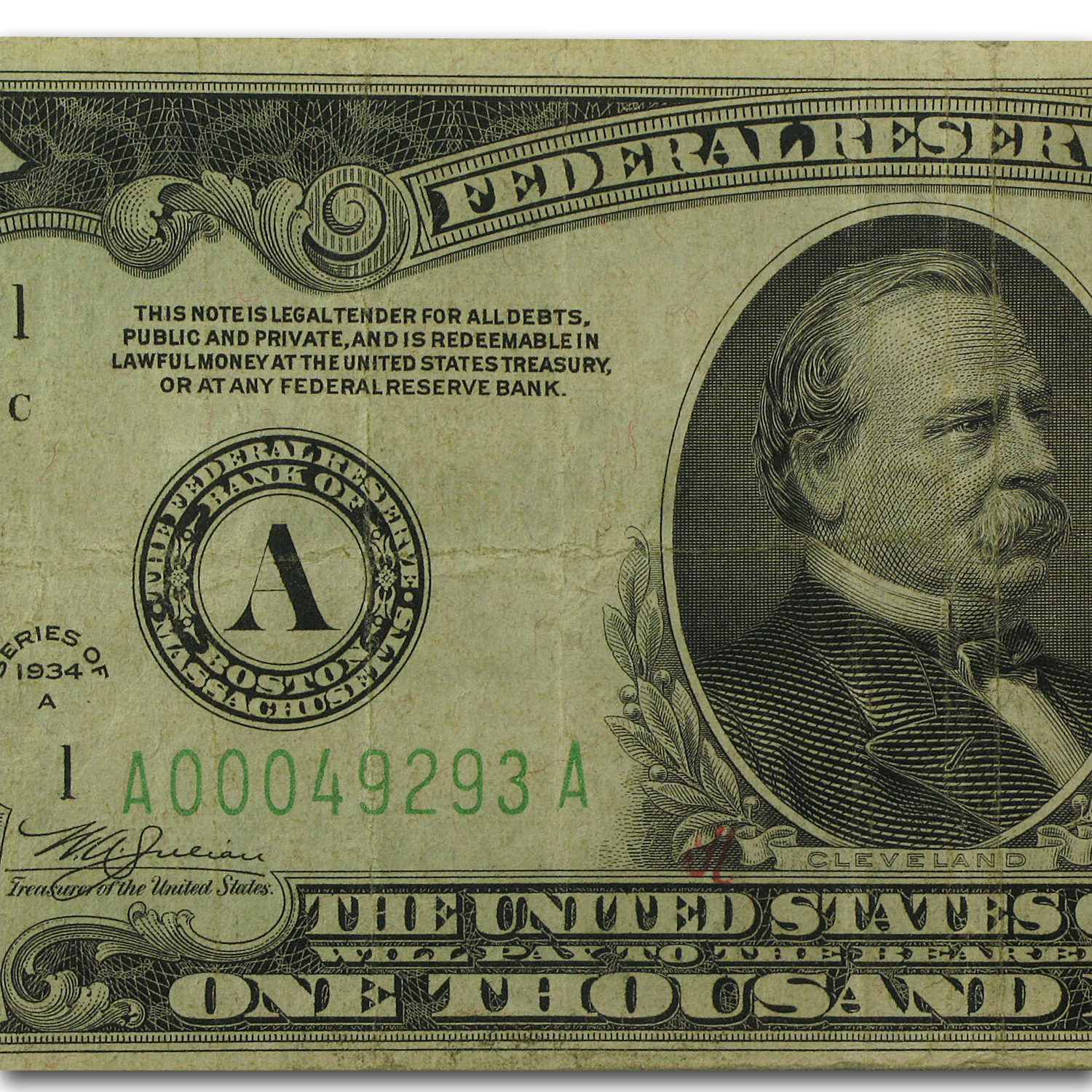 1934-A (A-Boston) $1,000 FRN Fine