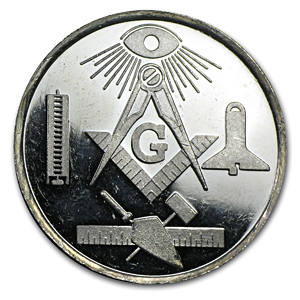 1 oz Silver Round - Masons Occidental Lodge No. 40 Sesqui