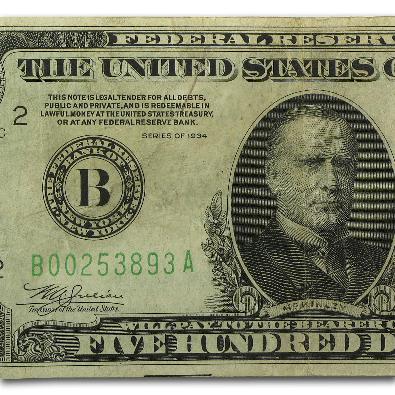1934 (B-New York) $500 FRN VF (FR#2201-B)