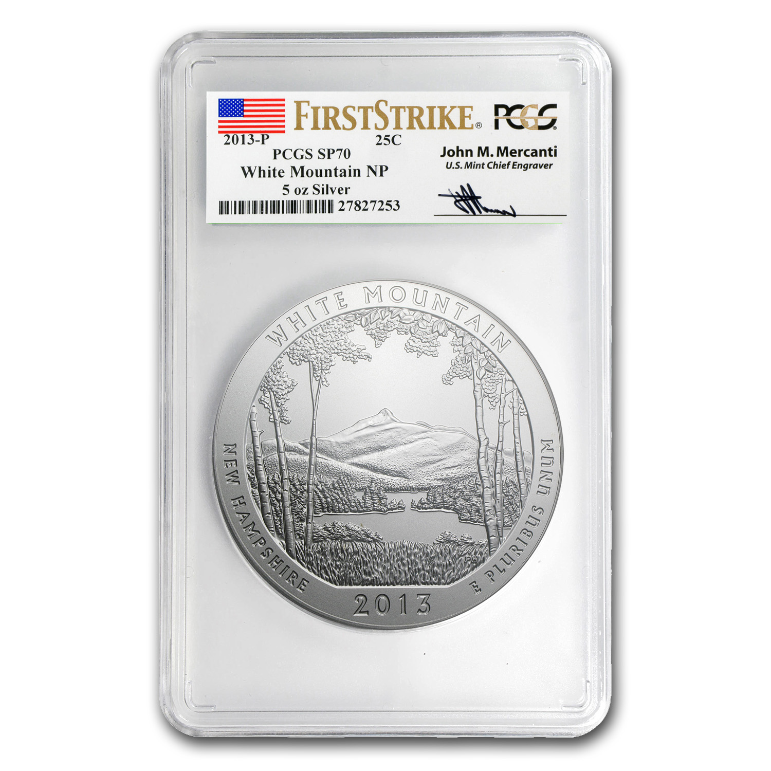 2013-P 5 oz Silver ATB White Mountain SP-70 PCGS (FS, Mercanti)