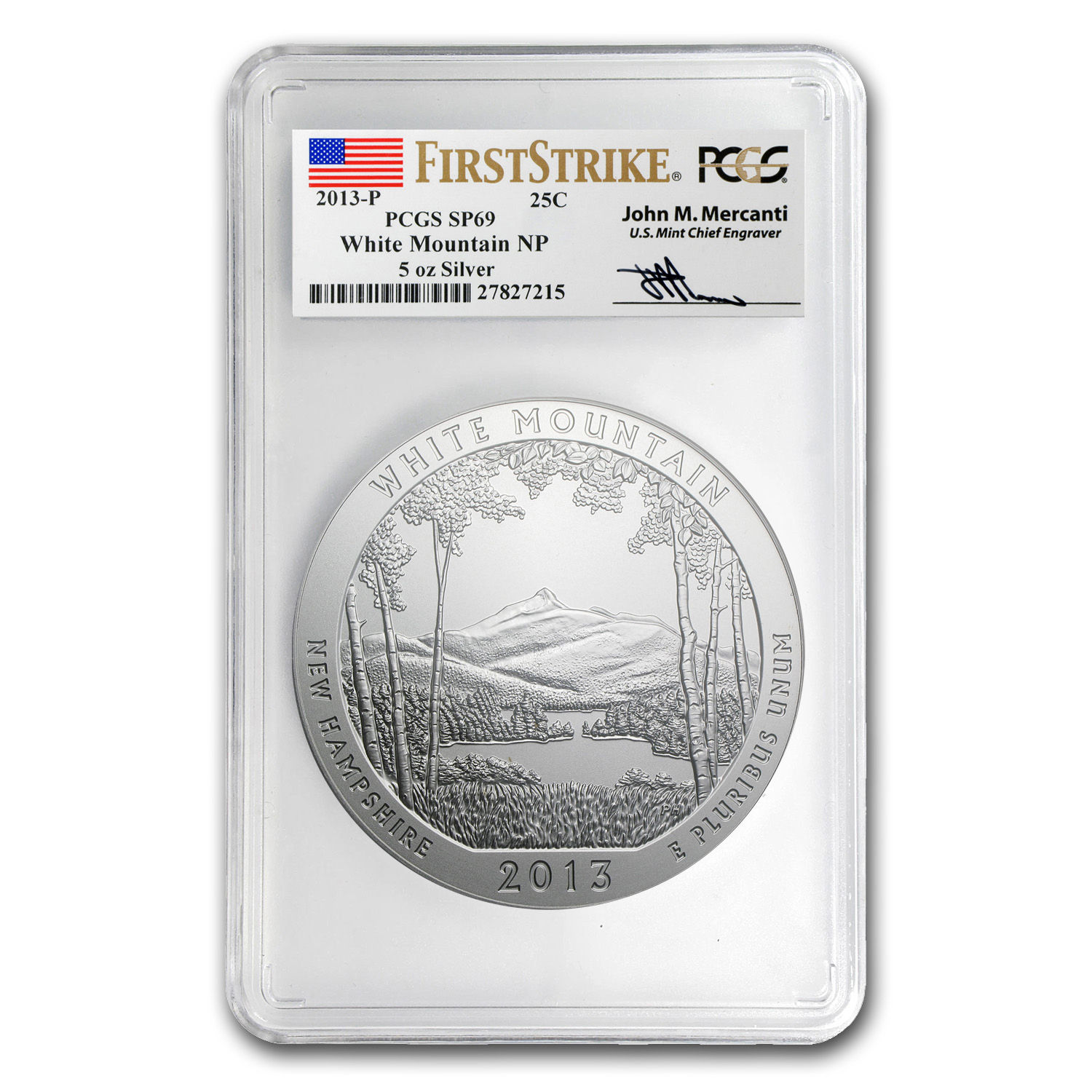 2013-P 5 oz Silver ATB - White Mountain SP-69 (FS) PCGS -Mercanti