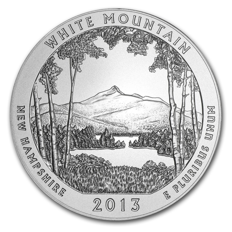 2013-P 5 oz Silver ATB White Mountain (w/Box & COA)