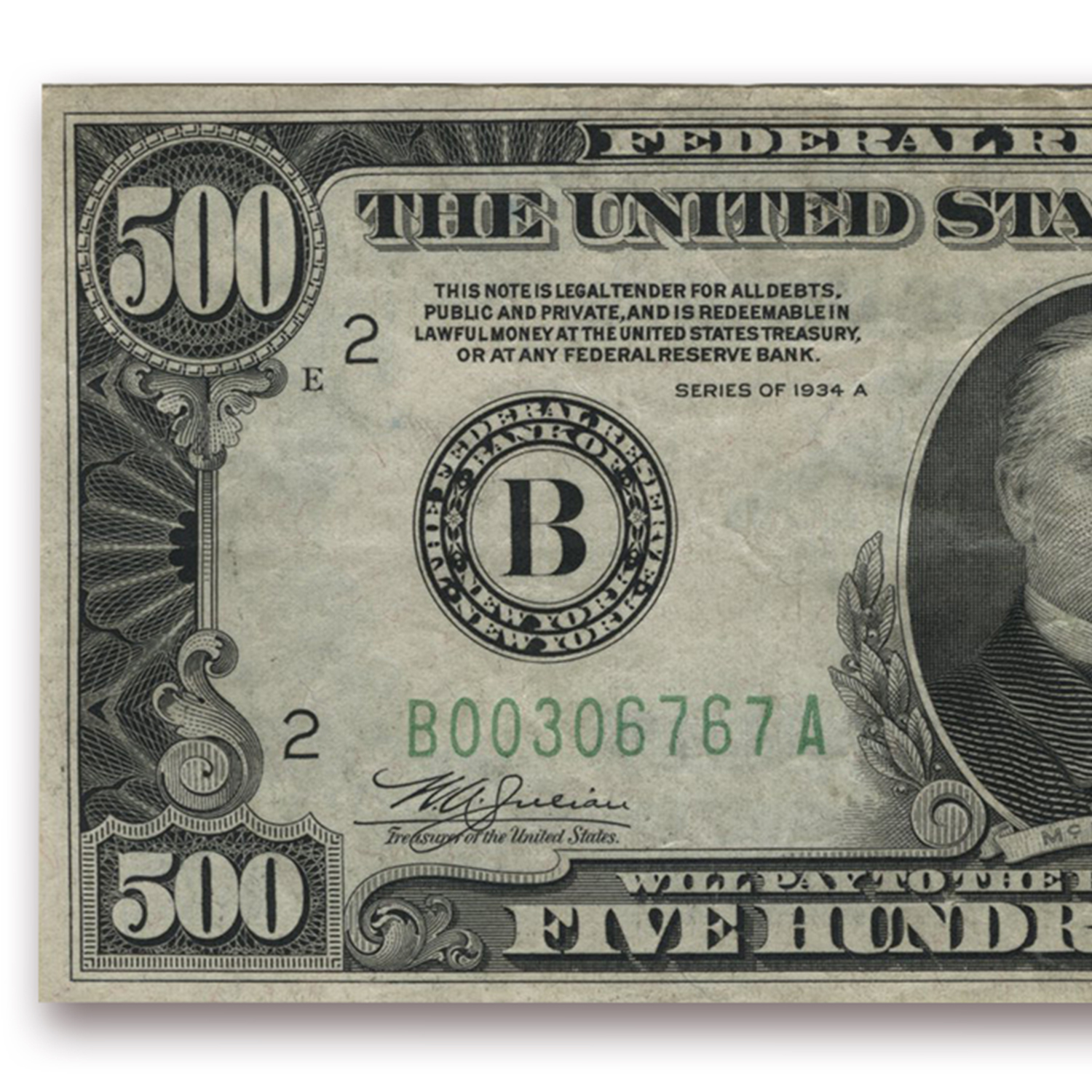 1934-A (B-New York) $500 FRN (Very Fine)