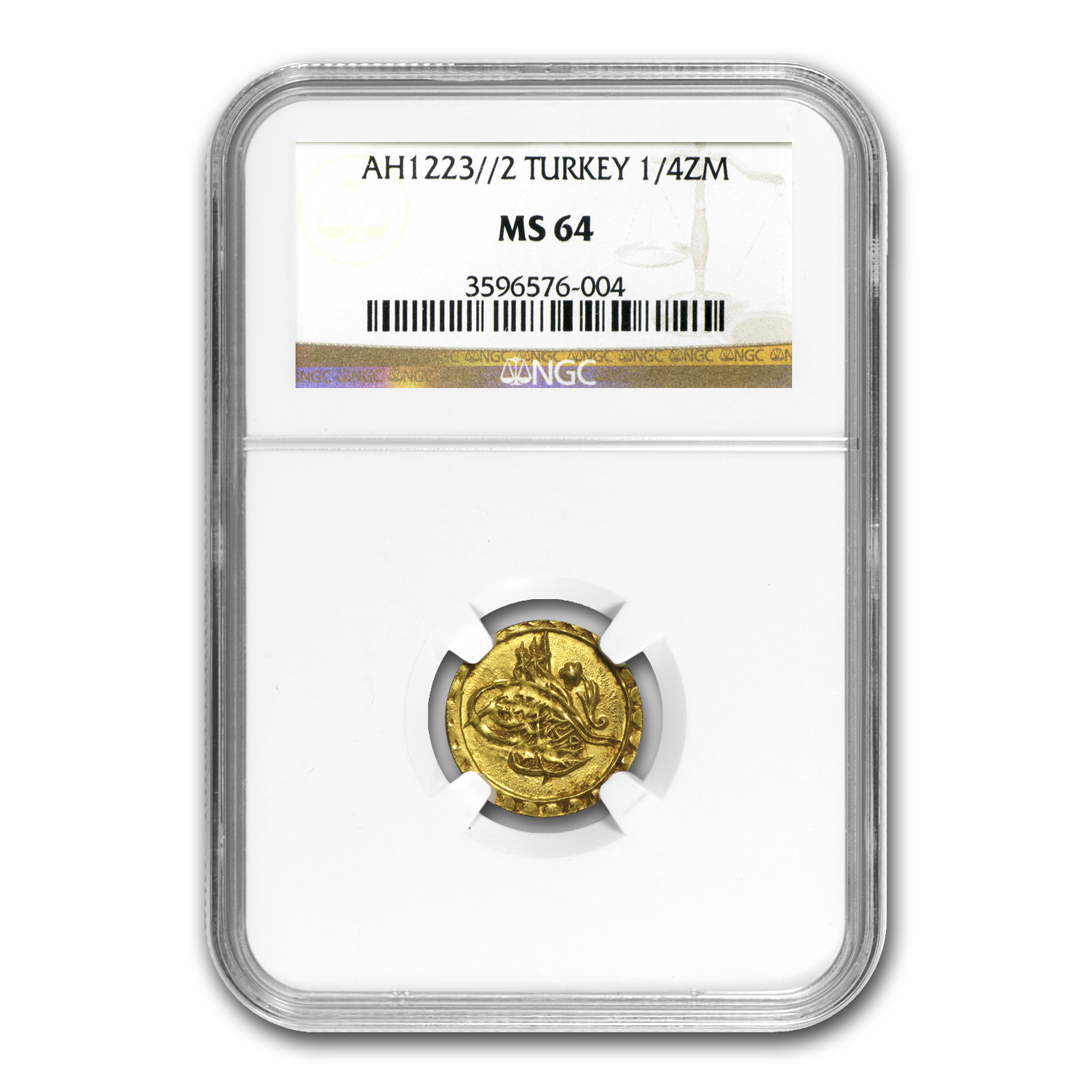 AH1223-1255 Turkey Gold 1/4 Zeri Mahbub MS-64 NGC