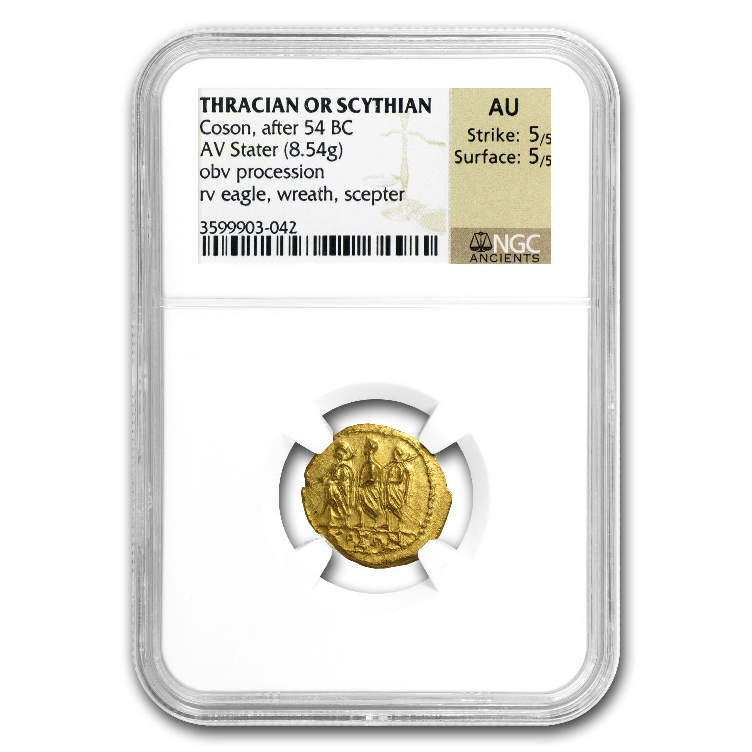 Thracian/Scythian Gold Stater (1st Cent. BC) AU-NGC