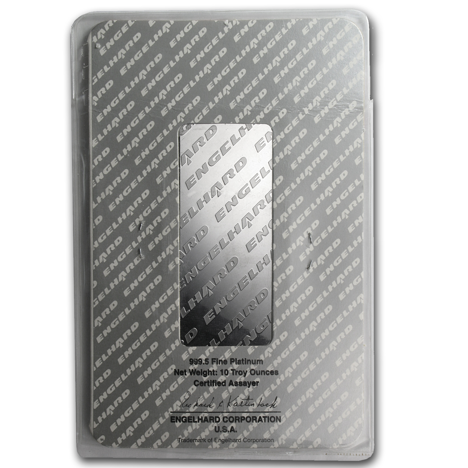 10 oz Engelhard Platinum Bar ('Eagle' logo, Assay) .9995 Fine