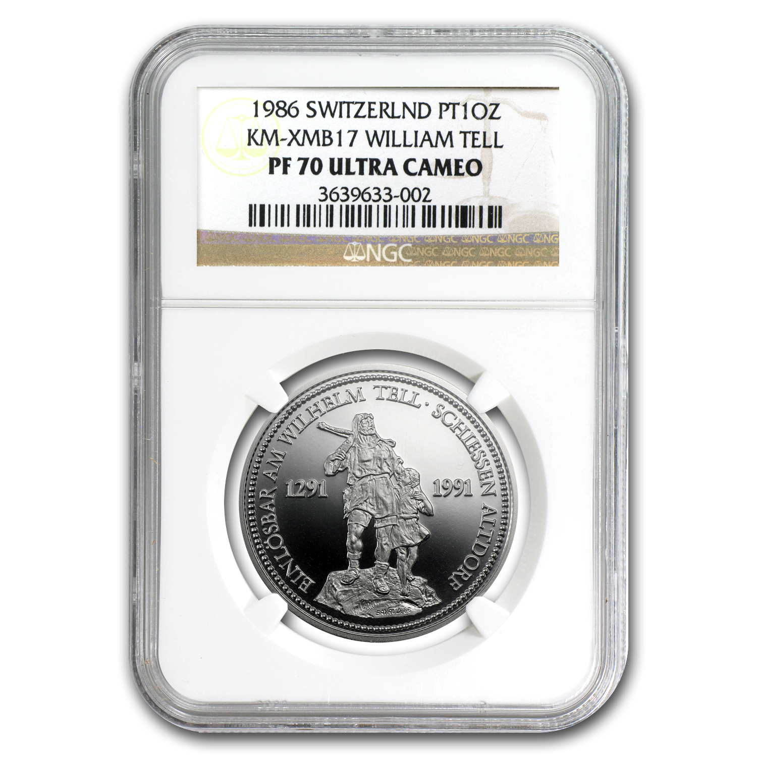 1986 1 oz Proof Swiss Platinum Shooting Thaler PF-70 NGC
