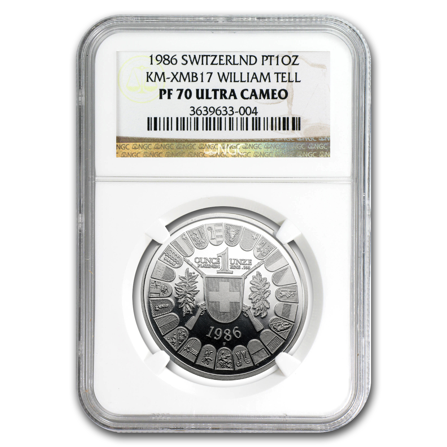 1986 Switzerland 1 oz Proof Platinum Shooting Thaler PF-70 NGC