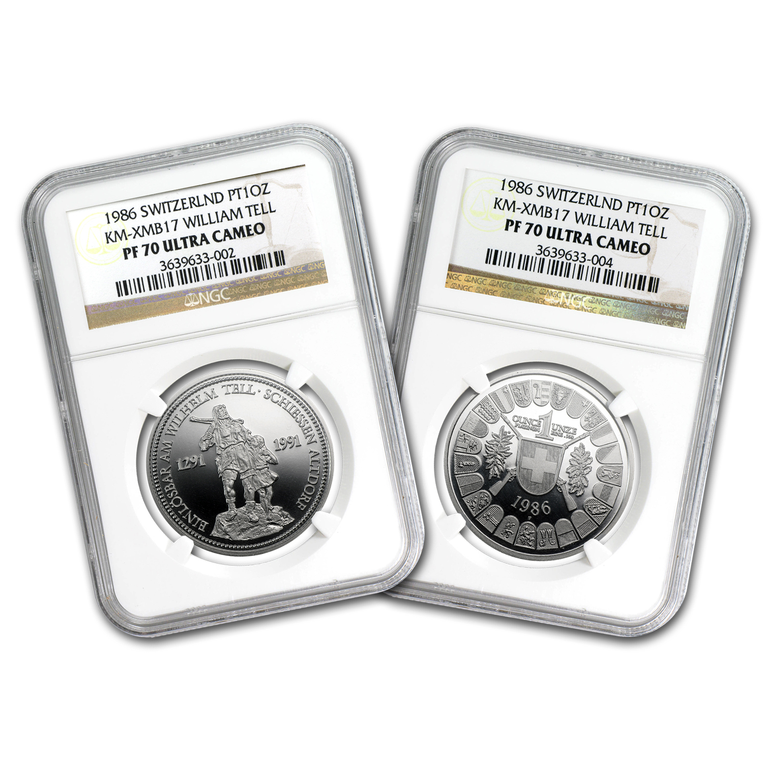 1986 1 oz Swiss Platinum Shooting Thalers (PF-70 UCAM NGC)