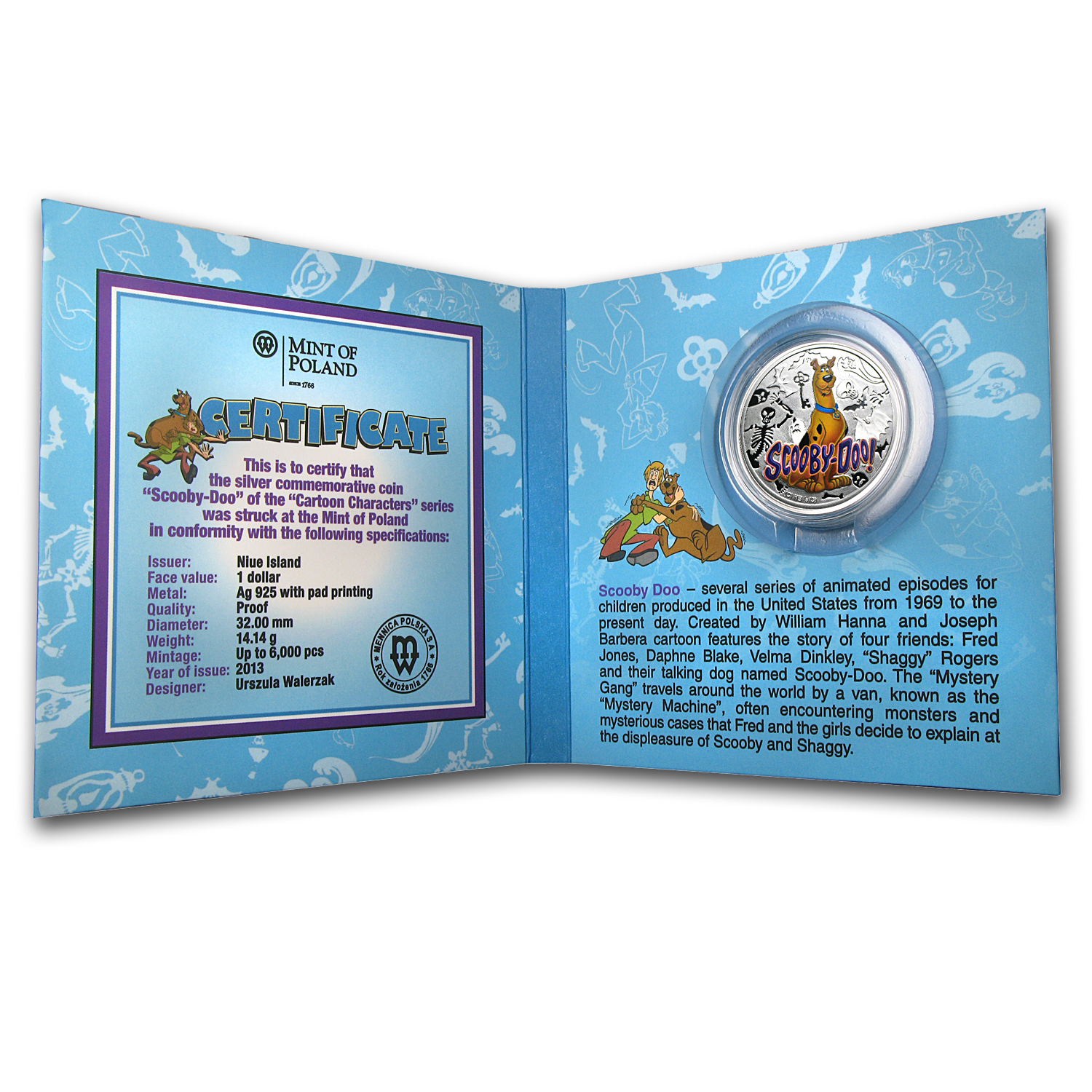 2013 Niue Proof Silver $1 Cartoon Characters Scooby-Doo!