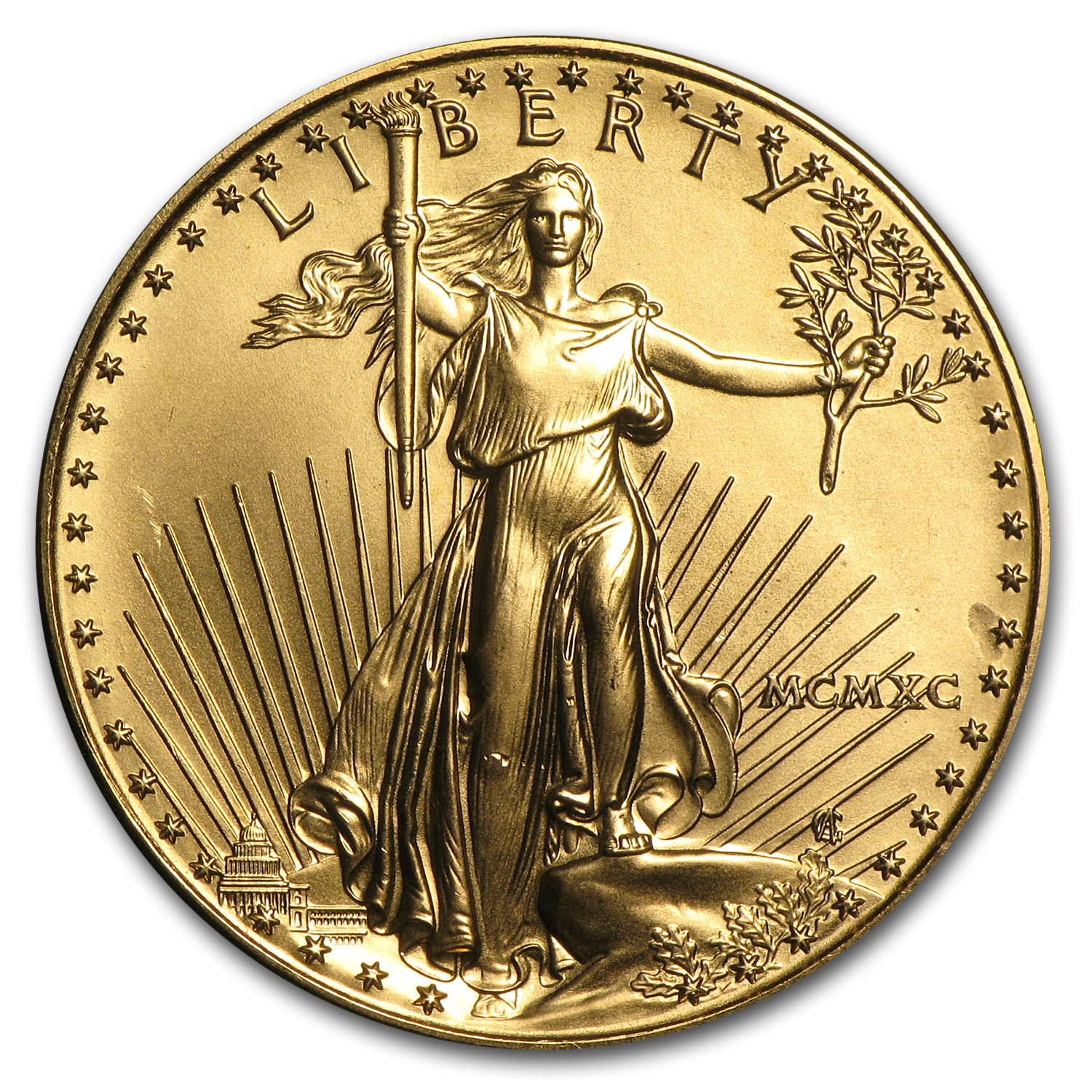 1990 MCMXC 1 oz Gold American Eagle (BU)