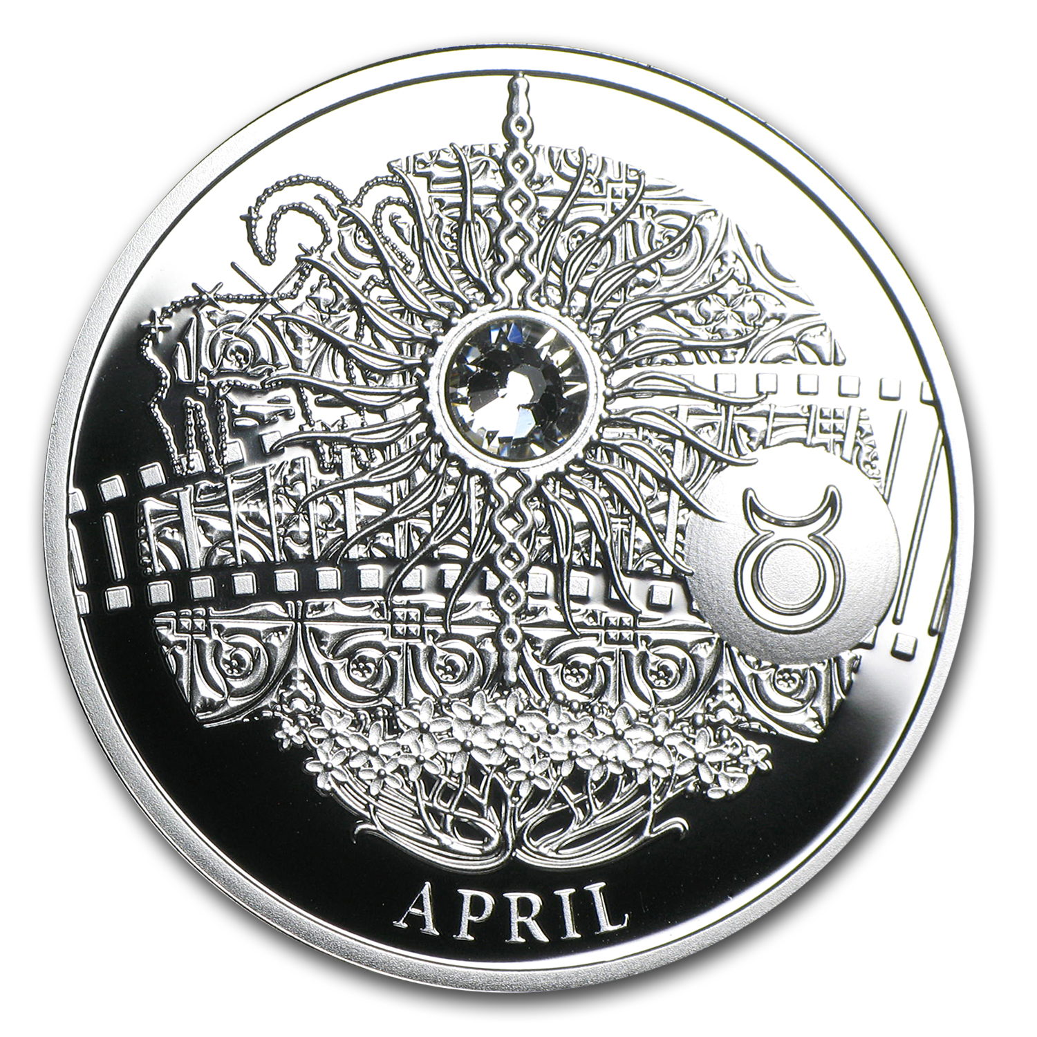 2013 Niue Proof Silver $1 Magic Calendar of Happiness April