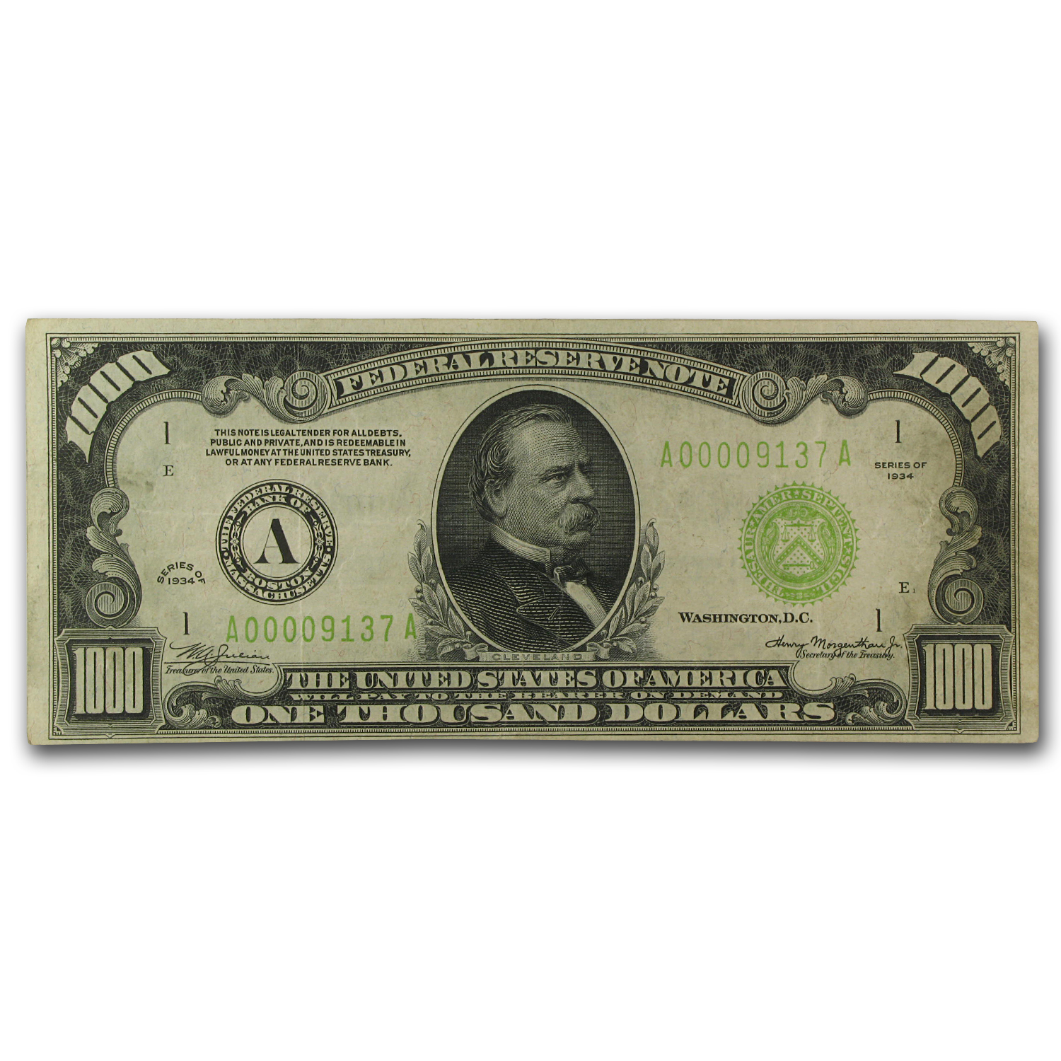 1934 (A-Boston) $1,000 FRN VF (LGS)