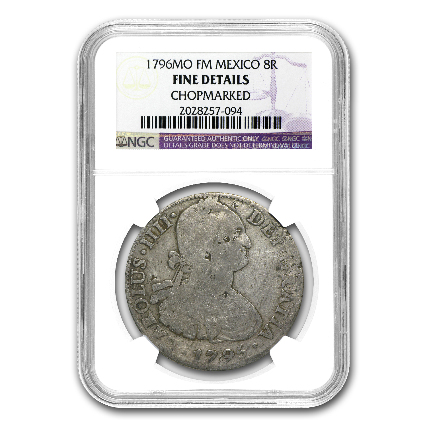 1796 Mexico Silver 8 Reales Fine Details NGC (Chopmarked)