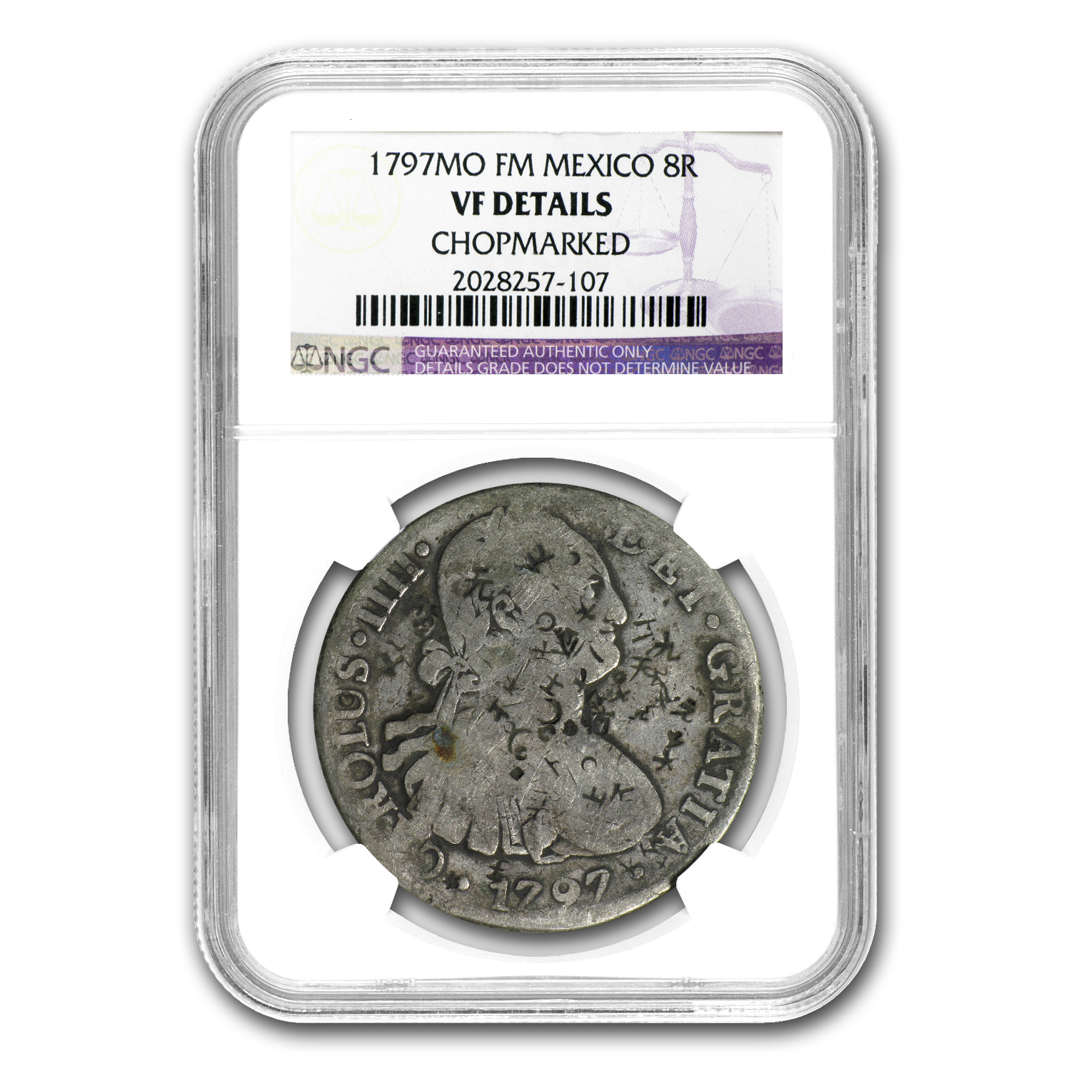 1797 Mexico Silver 8 Reales VF Details NGC (Chopmarked)