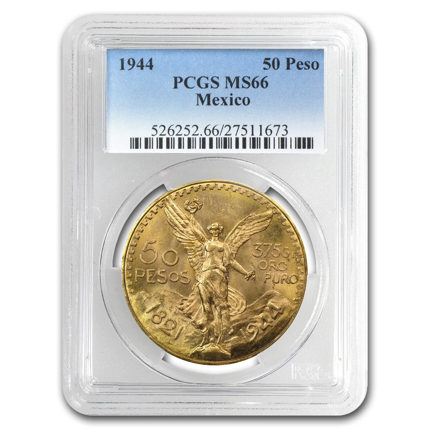 1944 Mexico 50 Pesos Gold MS-66 PCGS (Finest Known)