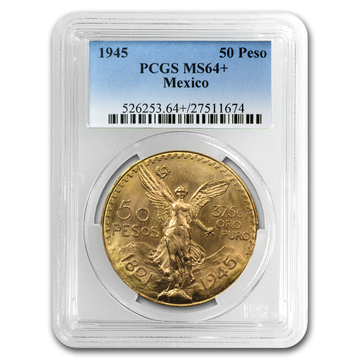 1945 Mexico 50 Pesos Gold MS-64+ PCGS