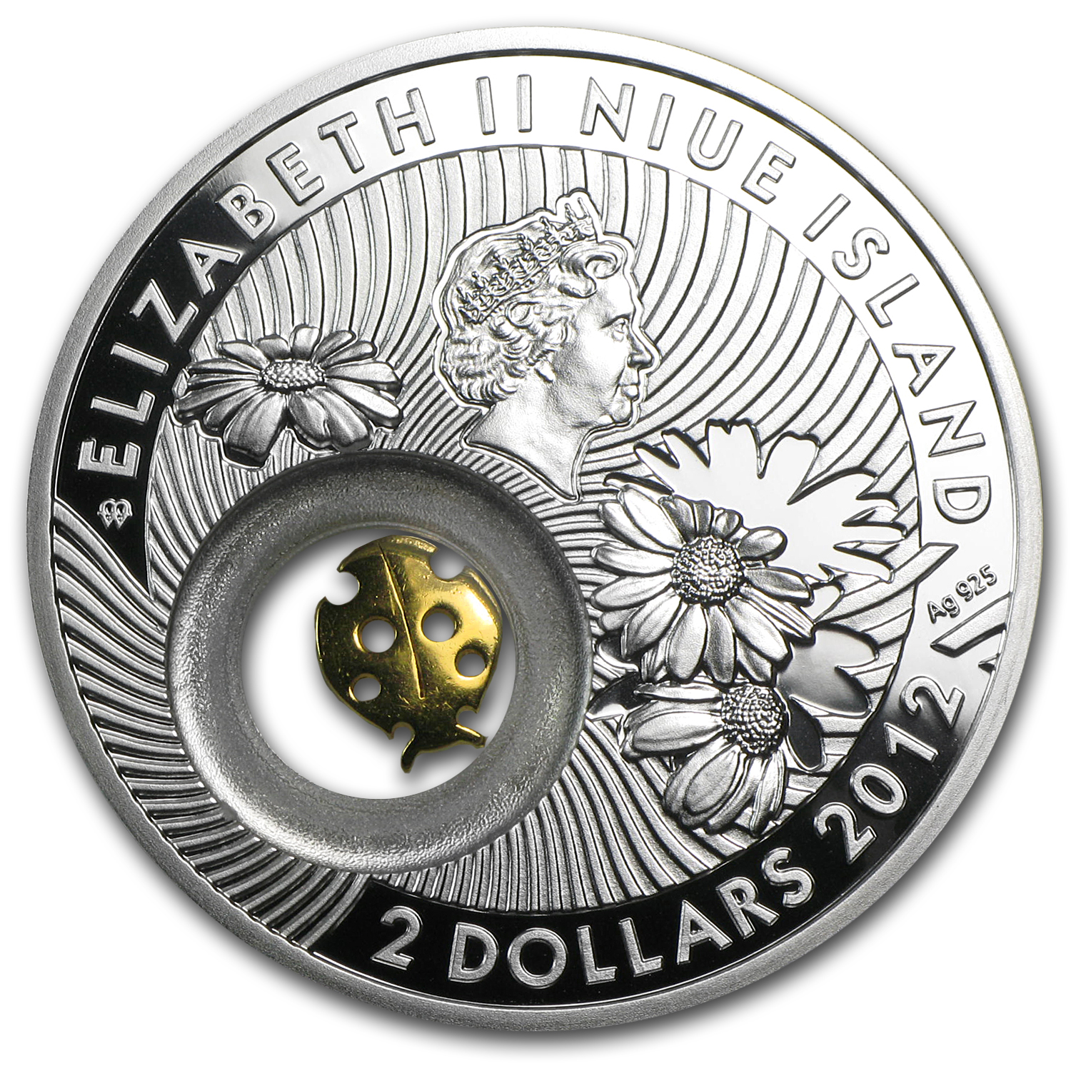 2012 Niue Proof Silver $2 Lucky Coins Series Ladybird