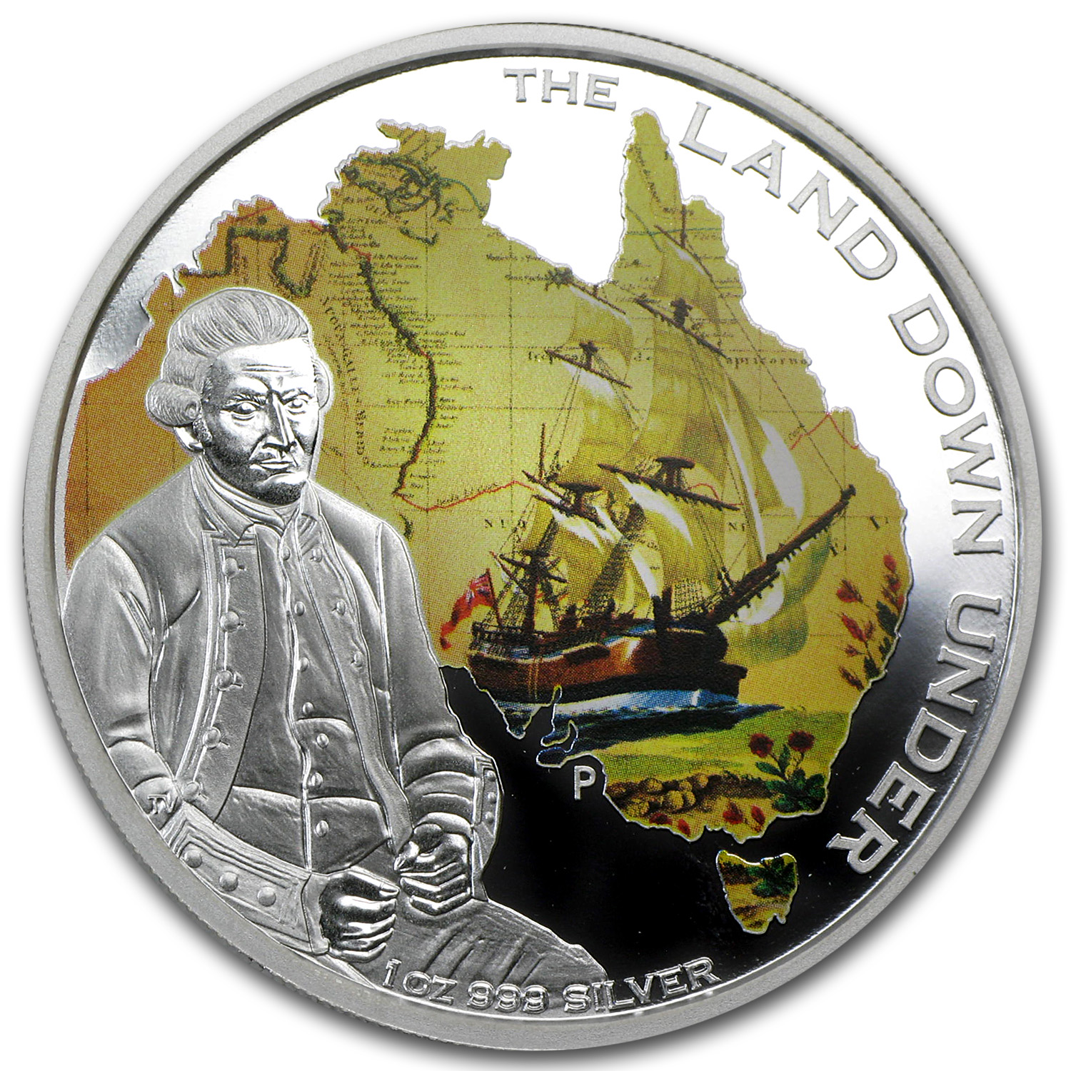 2013 1 oz Silver The Land Down Under Proof (Captain James Cook)