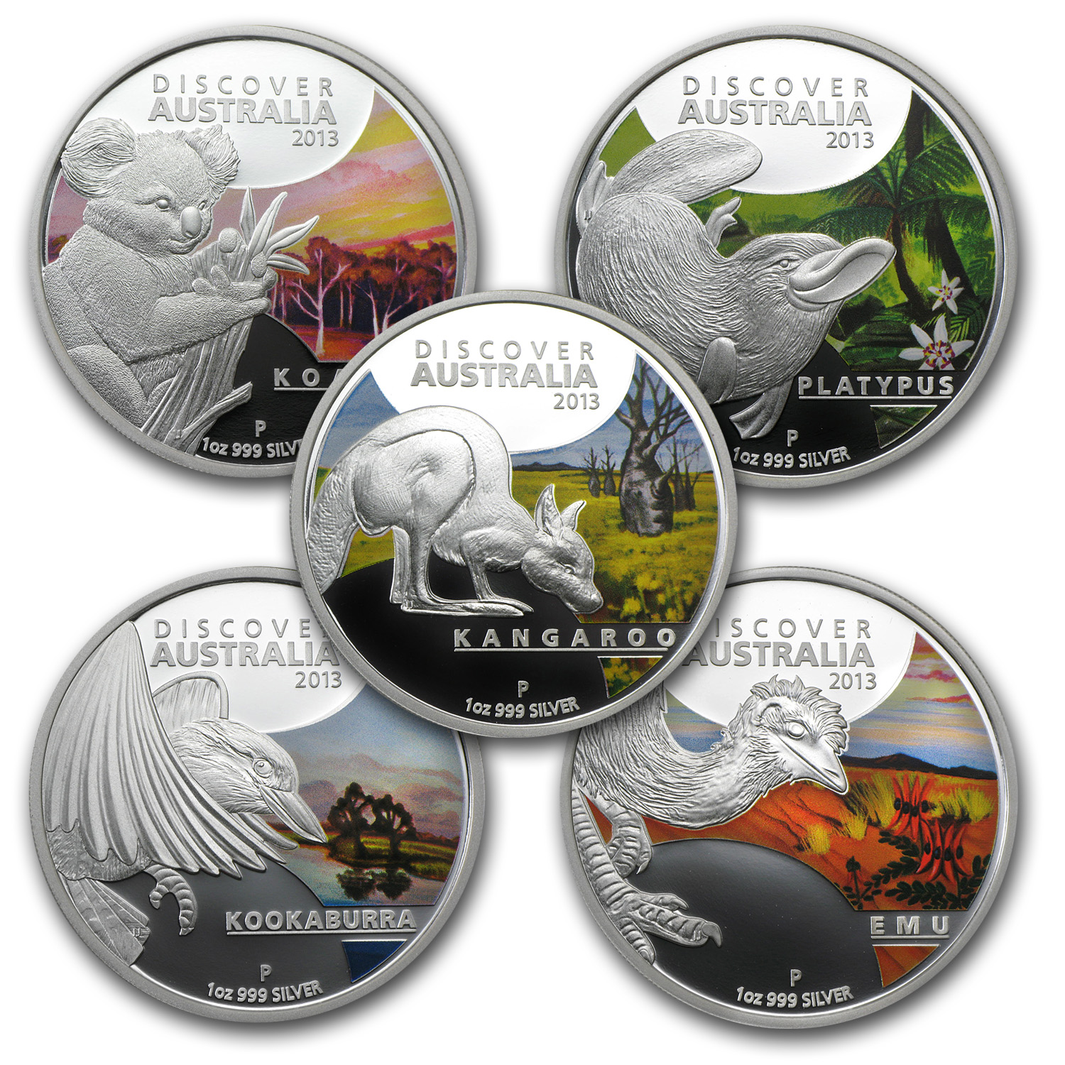 2013 1 oz Proof Silver Discover Australia 5-Coin Set