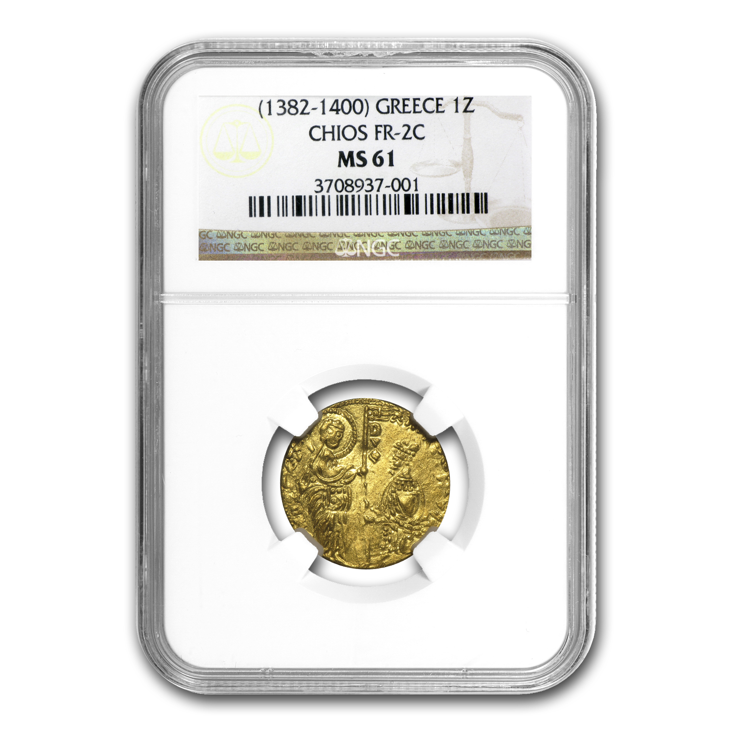 Greece Chios Gold Zecchino MS-61 NGC (1382-1400 AD)