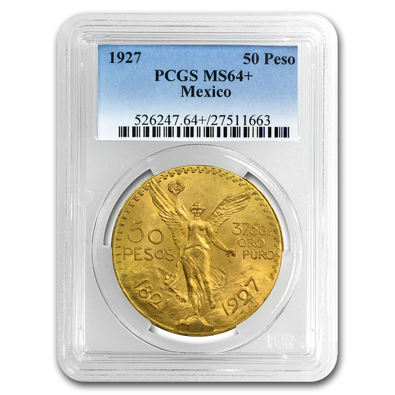 1927 Mexico Gold 50 Pesos MS-64+ PCGS