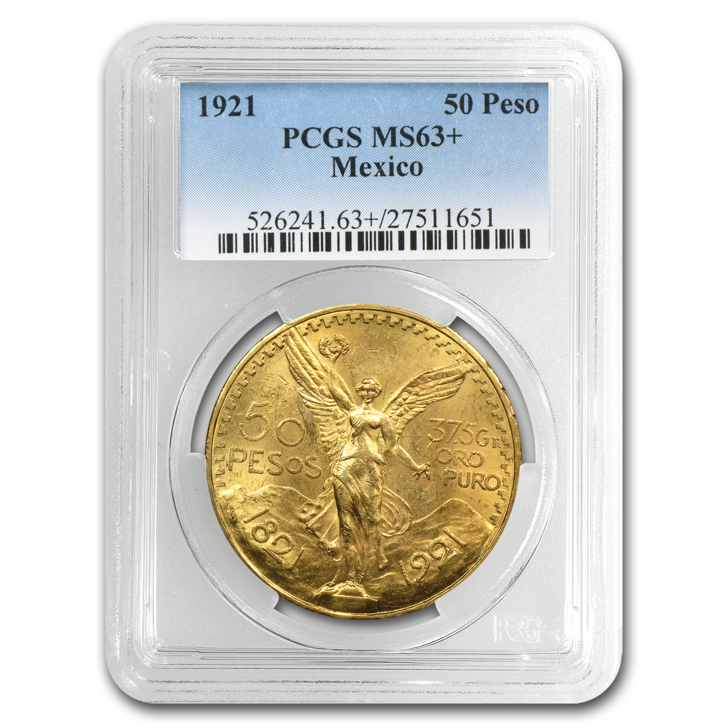 1921 Mexico Gold 50 Pesos MS-63+ PCGS