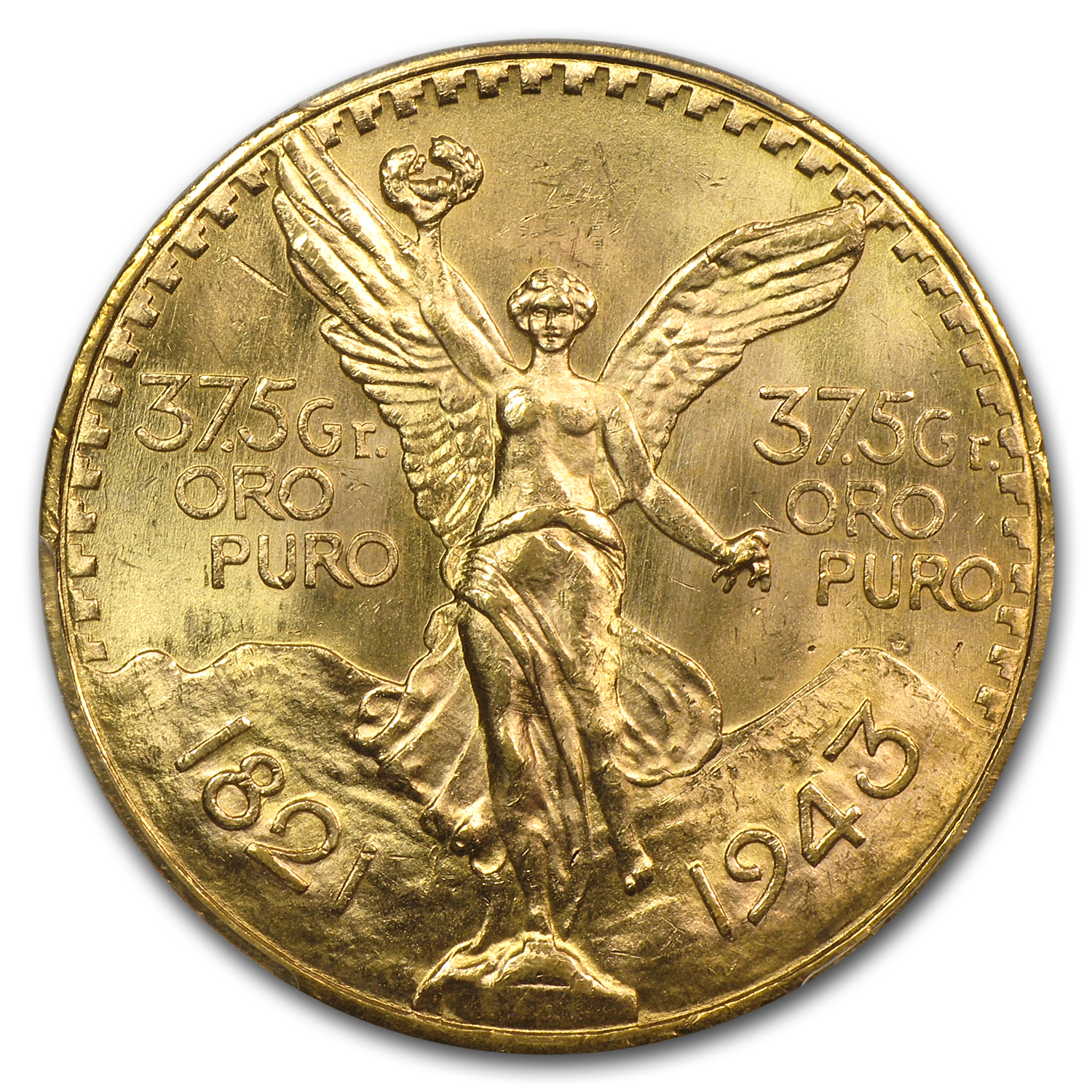Mexico 1943 50 Pesos Gold Coin - MS-65+ PCGS