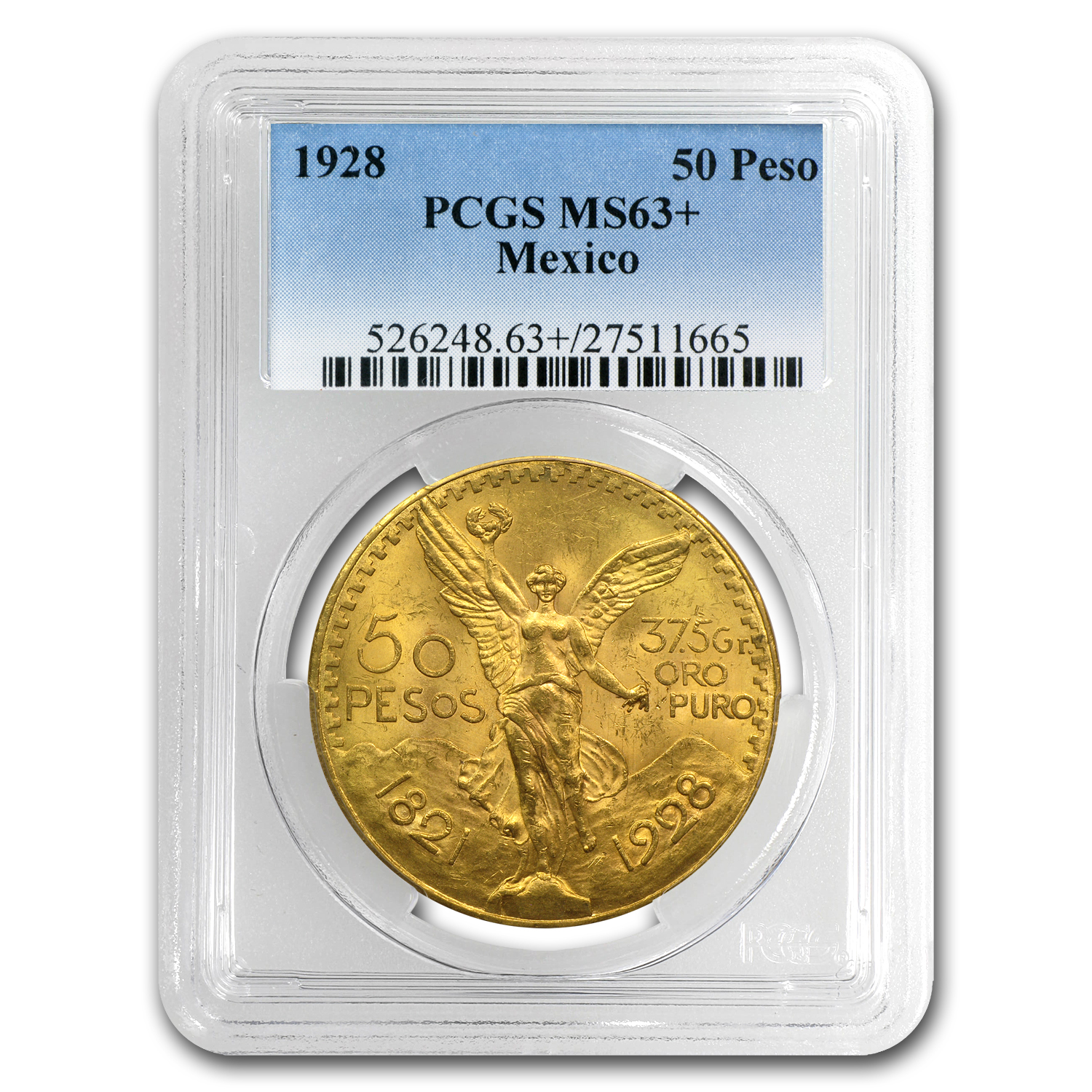 1928 Mexico Gold 50 Pesos MS-63+ PCGS