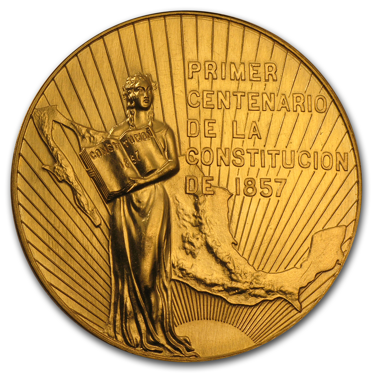 1957 Mexico Gold Centennial of Constitution Medal BU