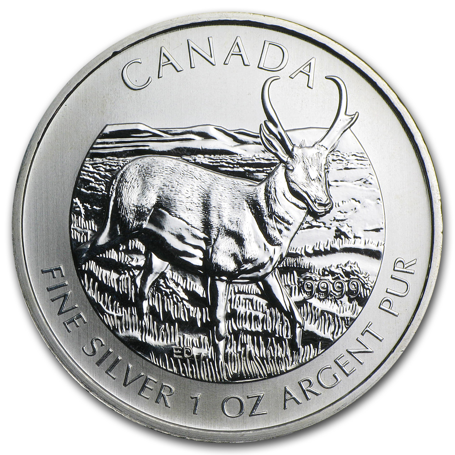 2013 1 oz Silver Canadian Wildlife Antelope (Abrasions, Spots)