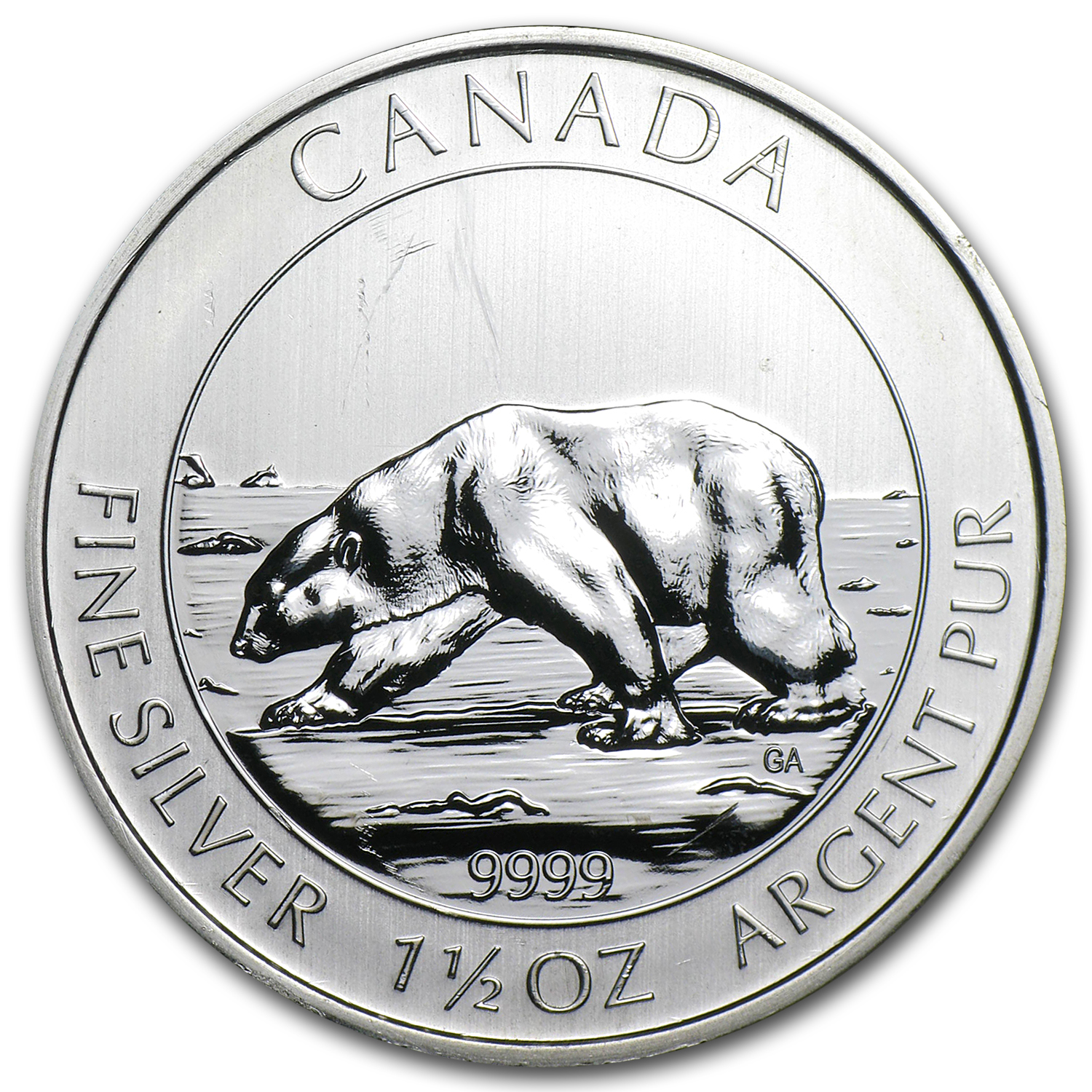 2013 1.5 oz Silver Canadian $8 Polar Bear (Spotted/Dmgd)