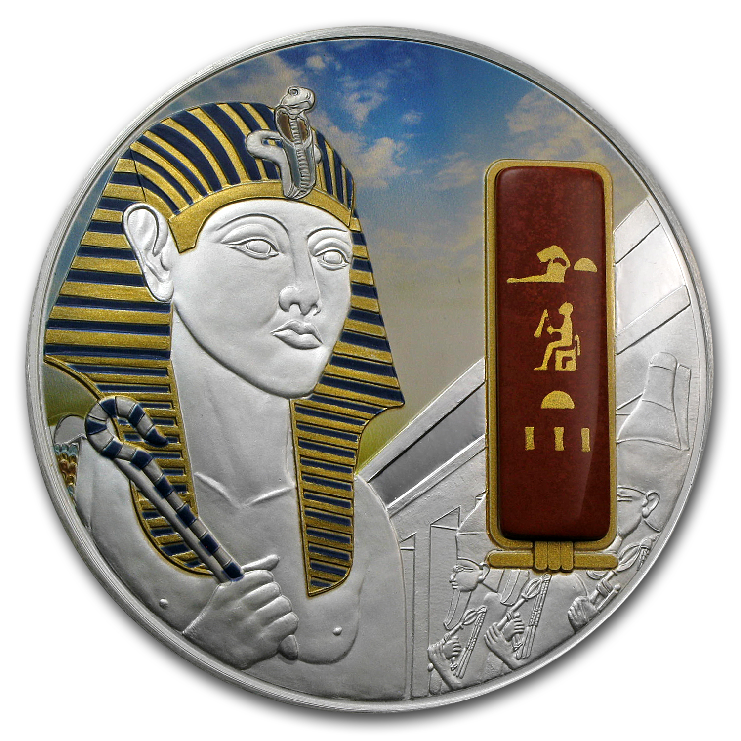 2012 Fiji 2 oz Proof Silver $50 Egyptian Jewels Hatshepsut