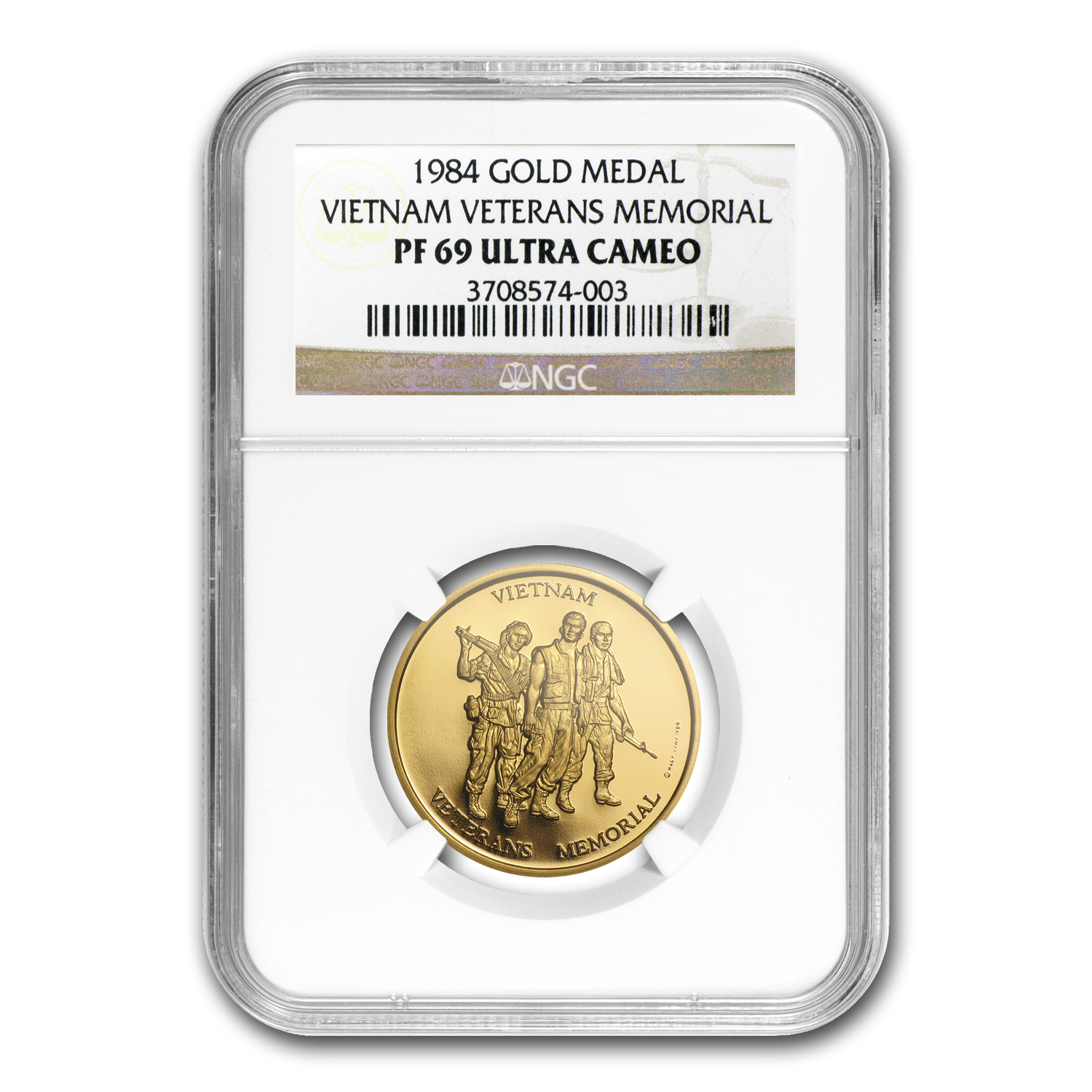 1/2 oz Gold Rnd - Vietnam Veterans Memorial PF-69 NGC