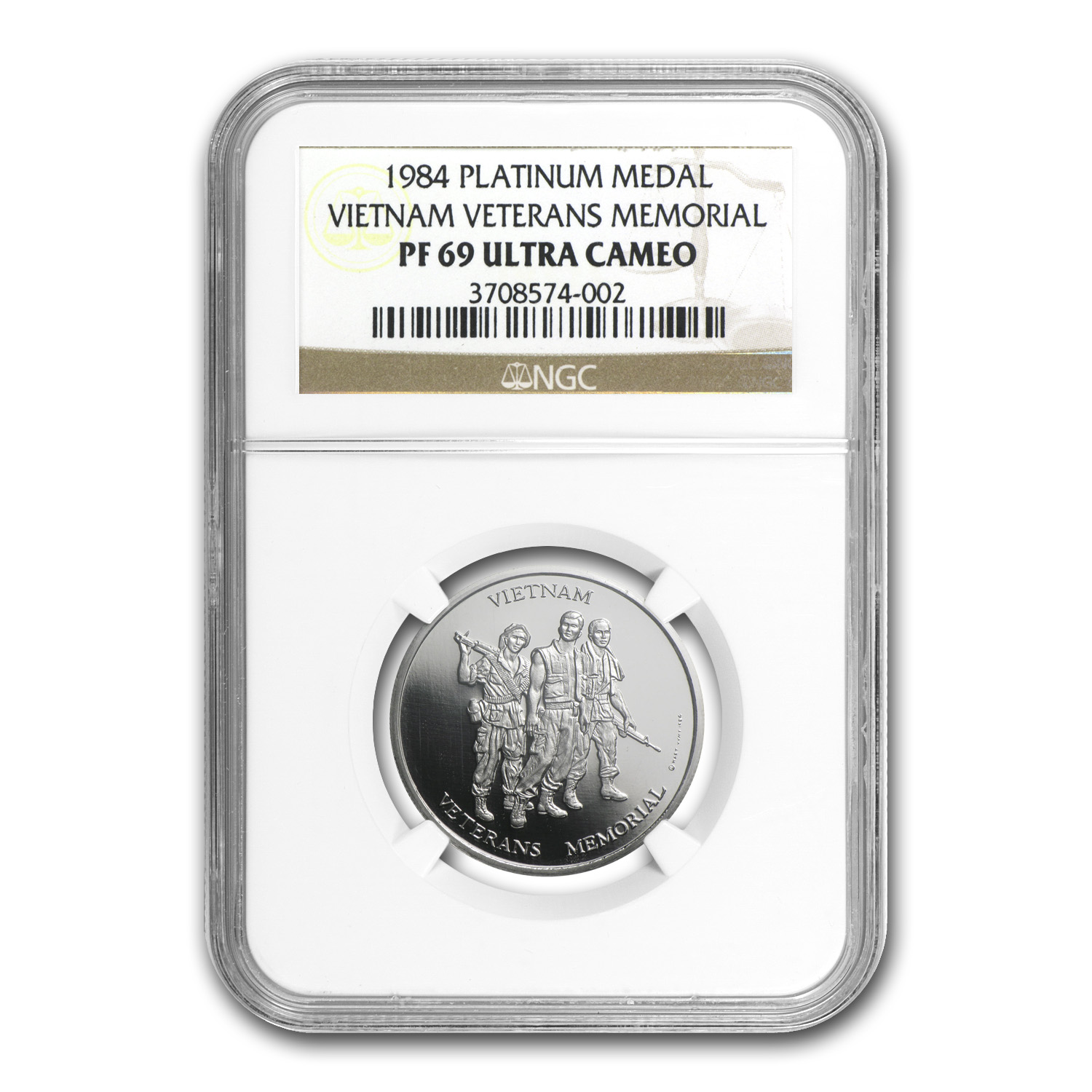 1984 1/2 oz Proof Platinum Vietnam Veterans Memorial PF-69 NGC