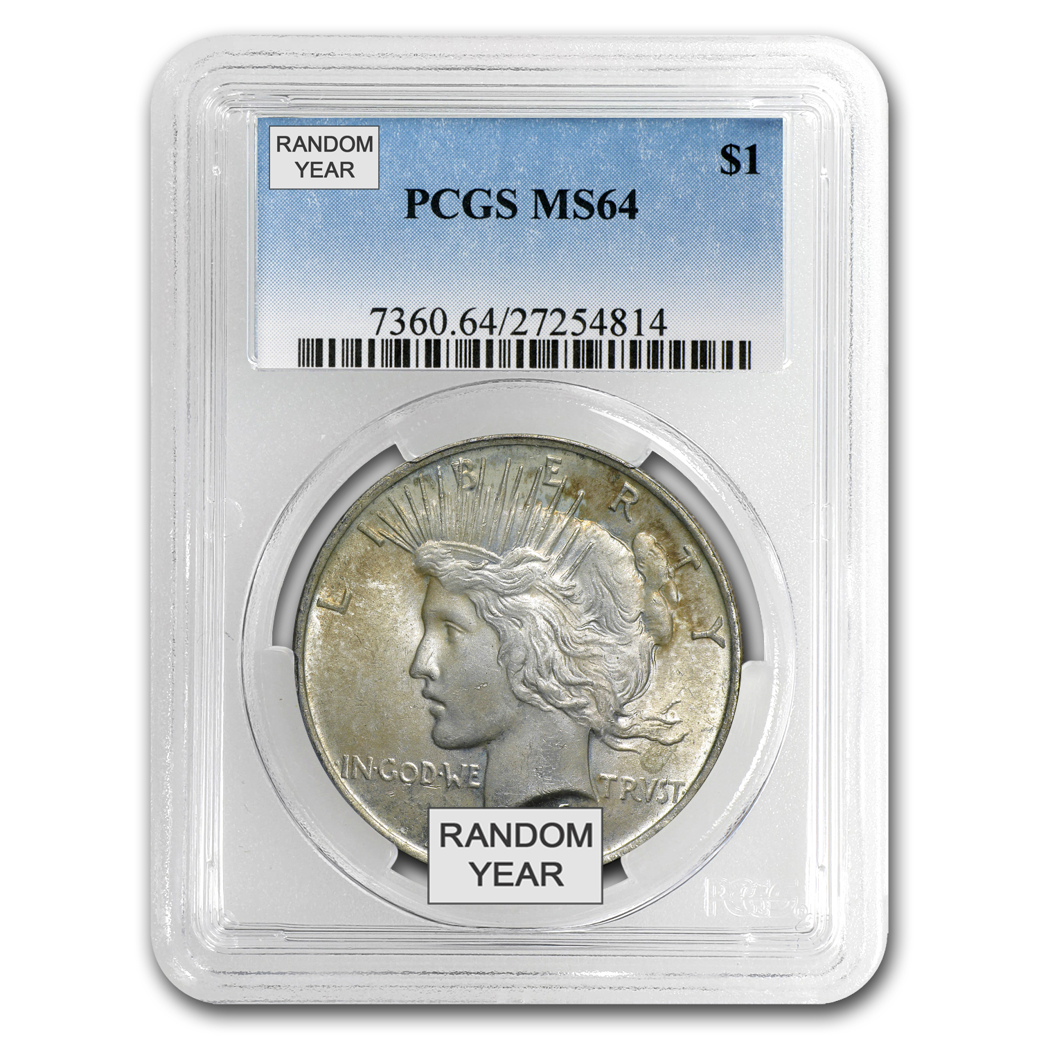 1922-1925 Peace Dollars MS-64 PCGS (Toned Obv/Rev)