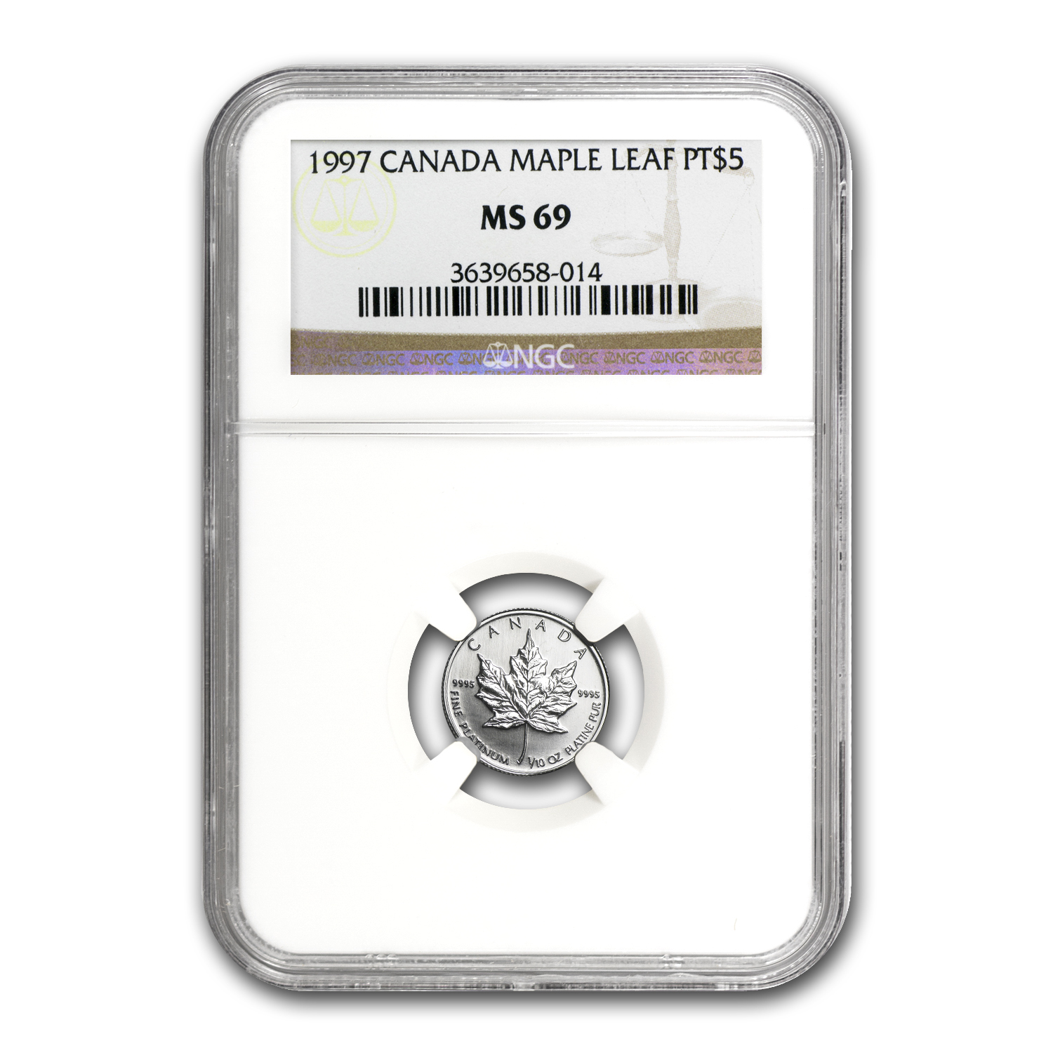 1997 Canada 1/10 oz Platinum Maple Leaf MS-69 NGC