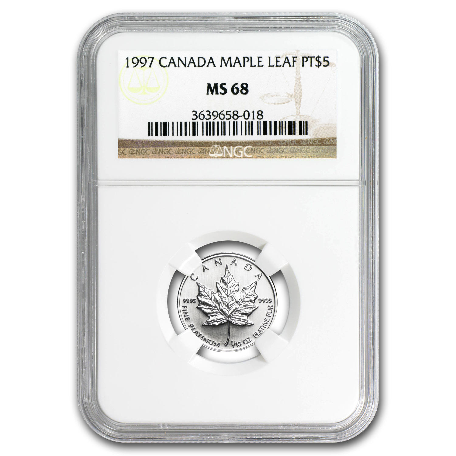 1997 1/10 oz Canadian Platinum Maple Leaf MS-68 NGC