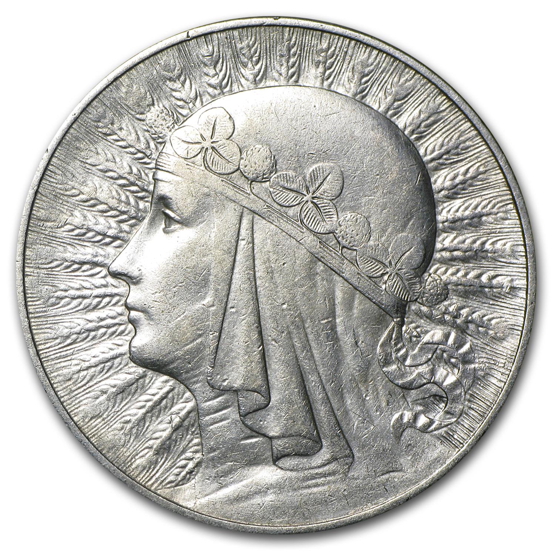 1933 Poland Silver 10 Zlotych Queen Jadwiga Ef Silver
