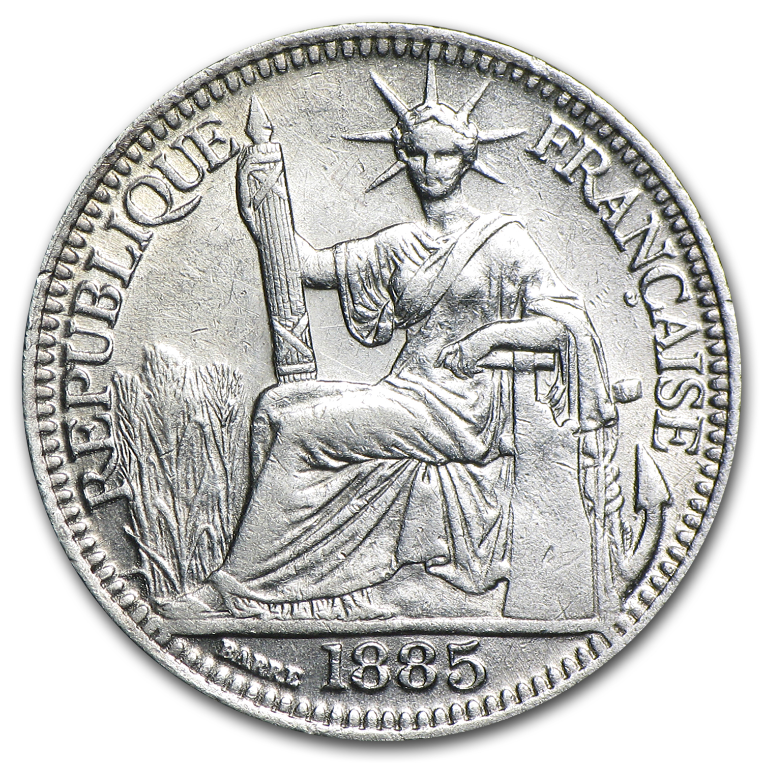1885-A French Indo-China Silver 10 Cents VF/EF