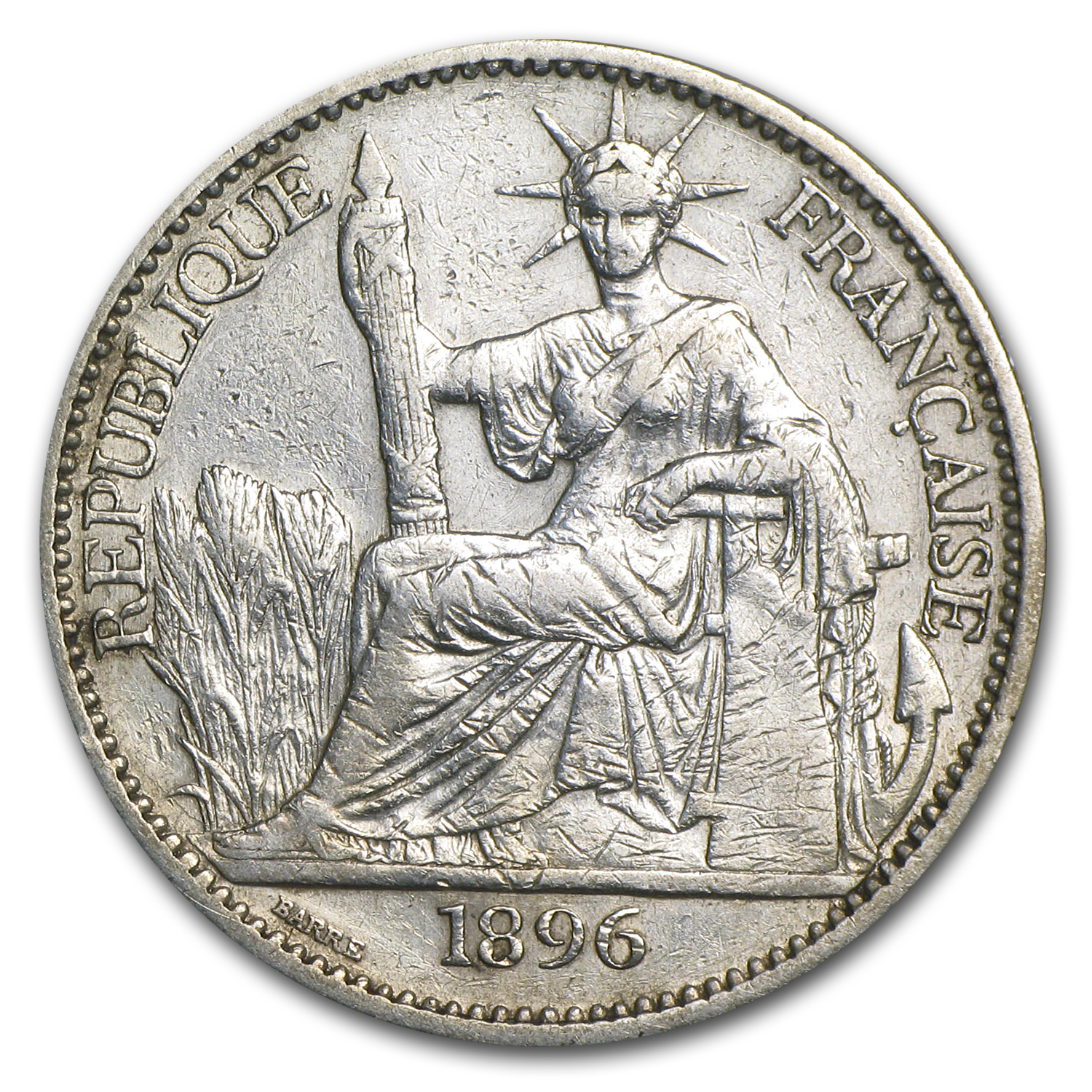 1896 French Indo-China Silver 50 Cent VF Details